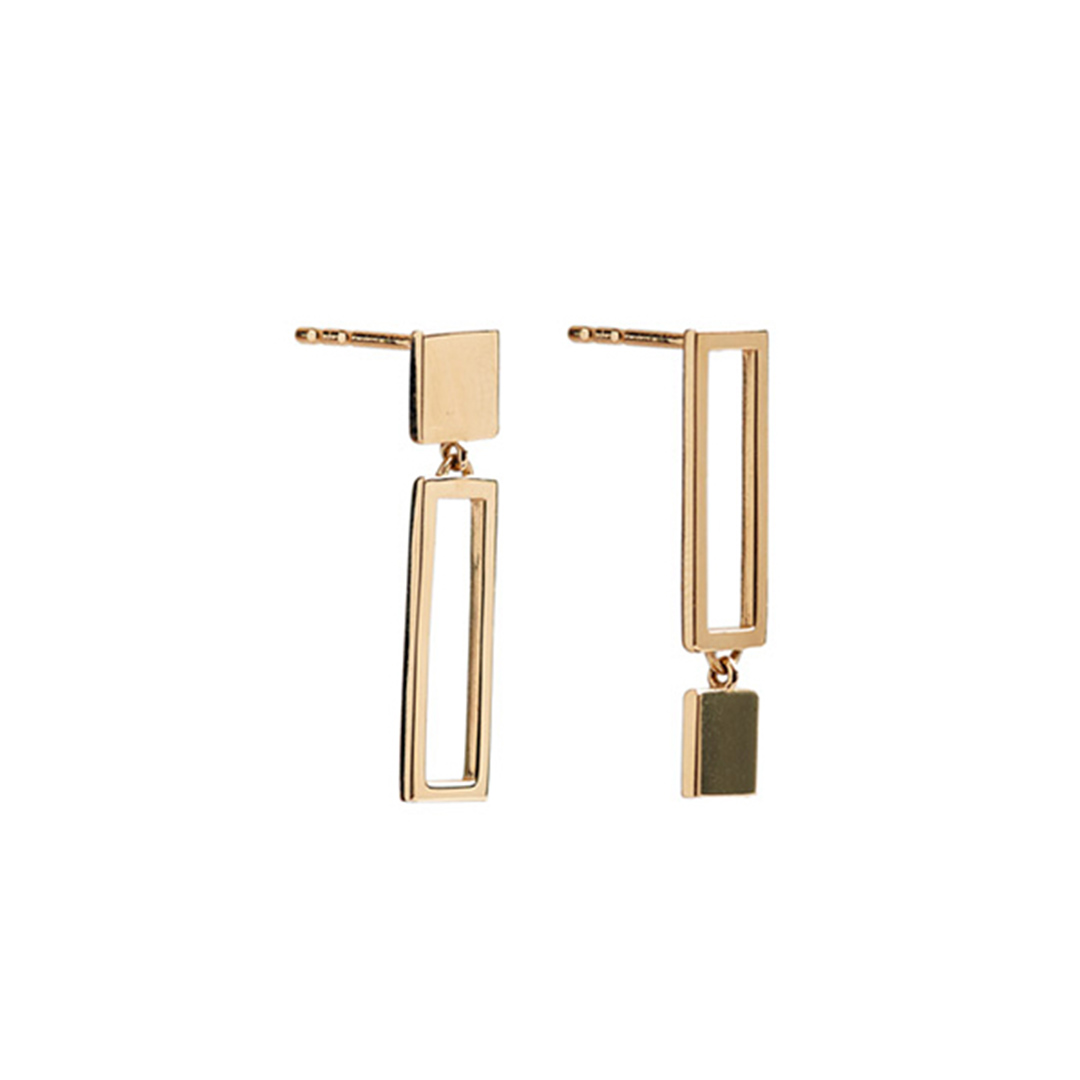 Frame Earrings, 14k Gold by The Straits Finery on curated-crowd.com