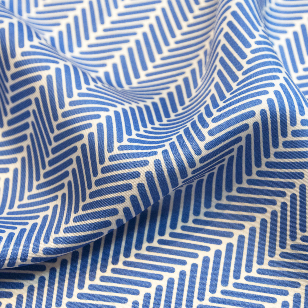 Herringbone Lapis Silk Scarf, Azure Blue by Nonamu on curated-crowd.com