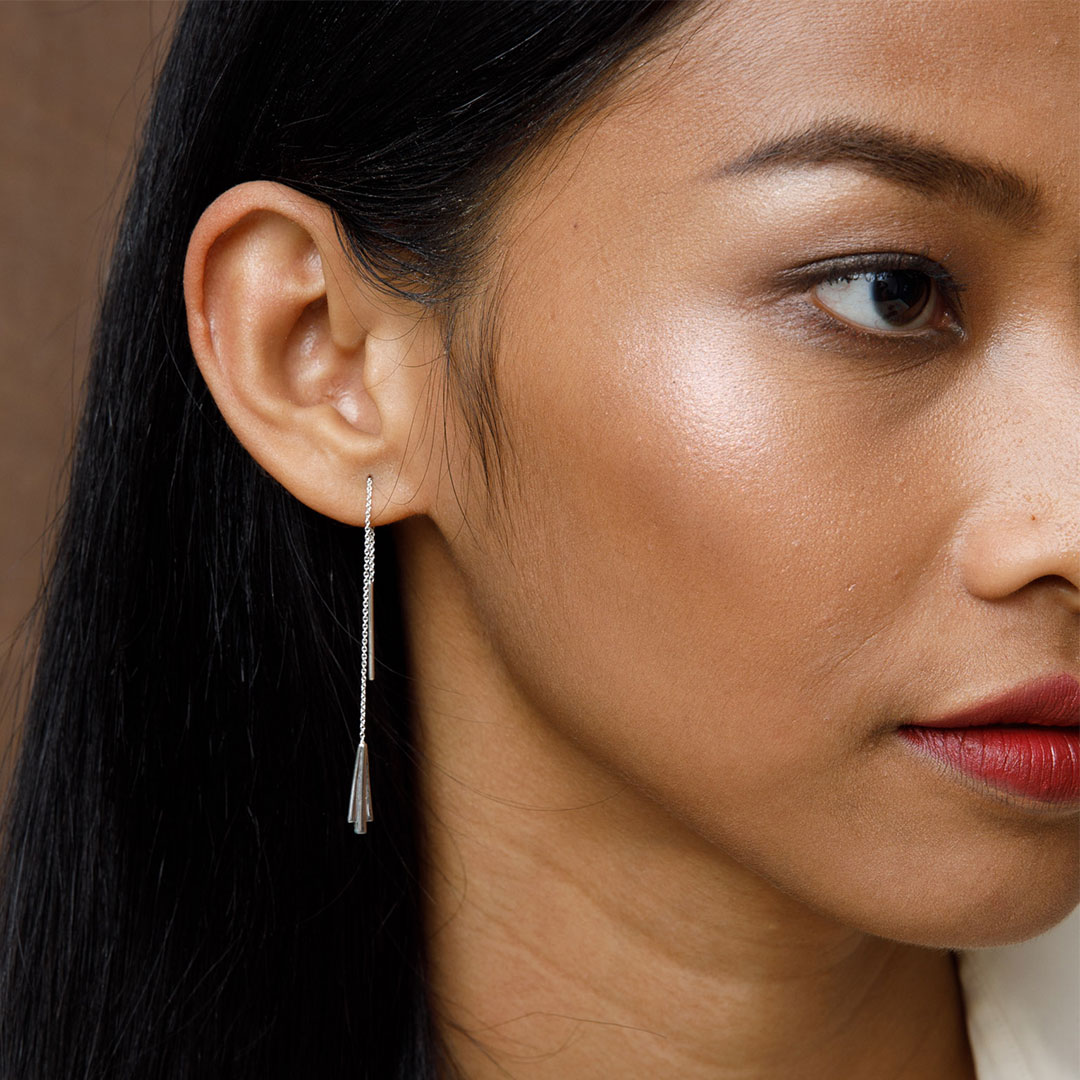 Keystone Earrings, Silver by The Straits Finery on curated-crowd.com