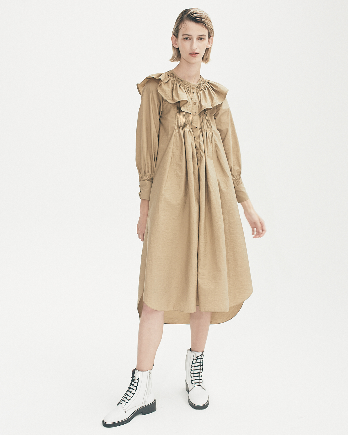 Textured Cotton Frill Neck Dress by Teija on curated-crowd.com