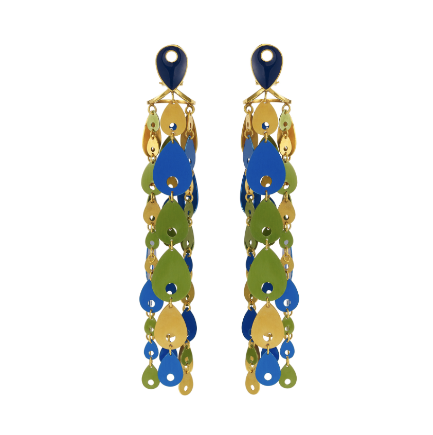 Waterfall Earrings Peacock by Taal Noir on curated-crowd.com