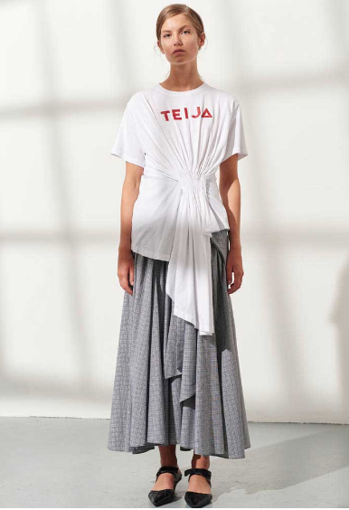 Cotton Jersey Asymmetrical Drape Tee (Red) by Teija on curated-crowd.com