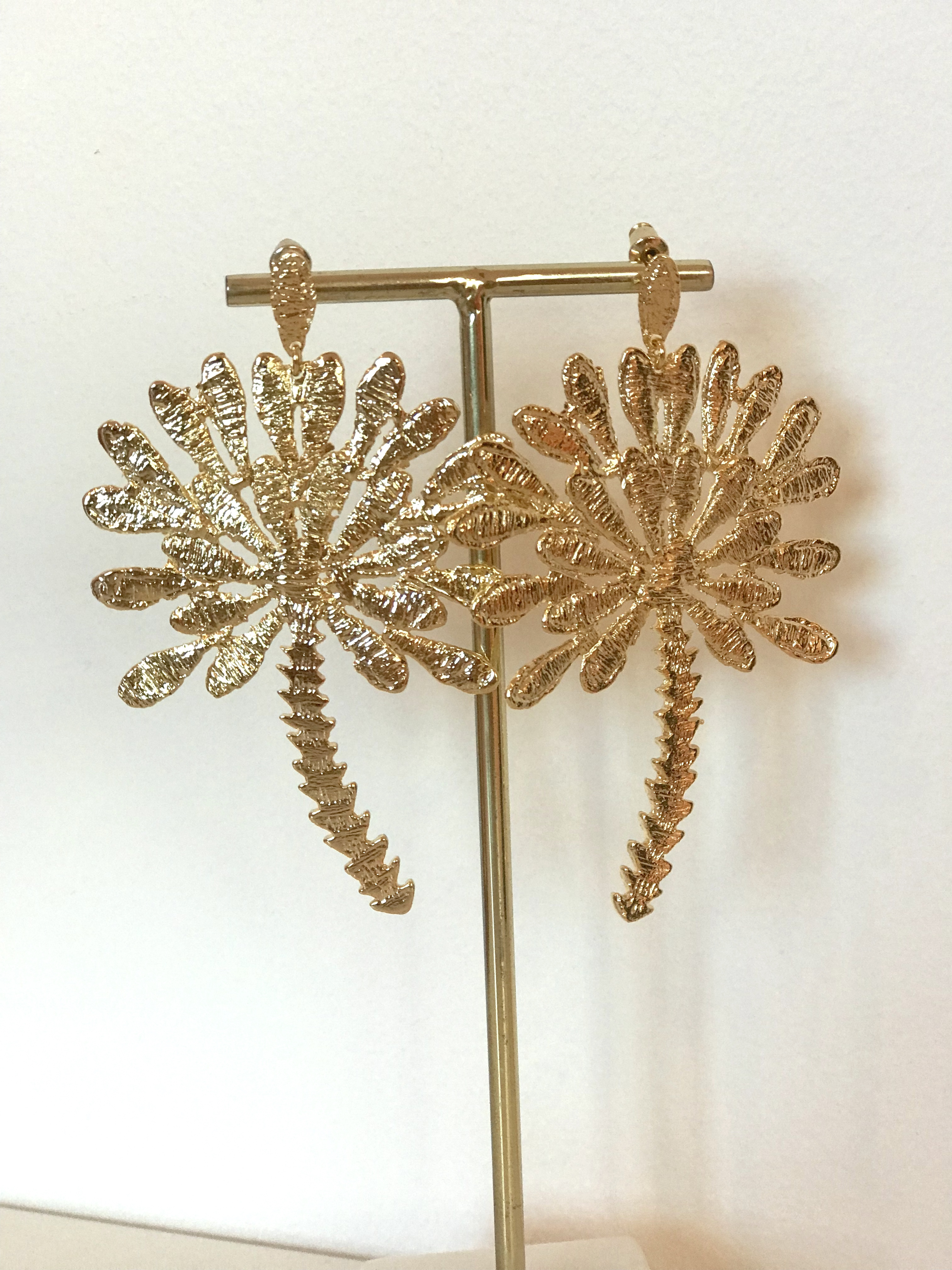 Palm Tree Gold Earrings by Jessica K on curated-crowd.com