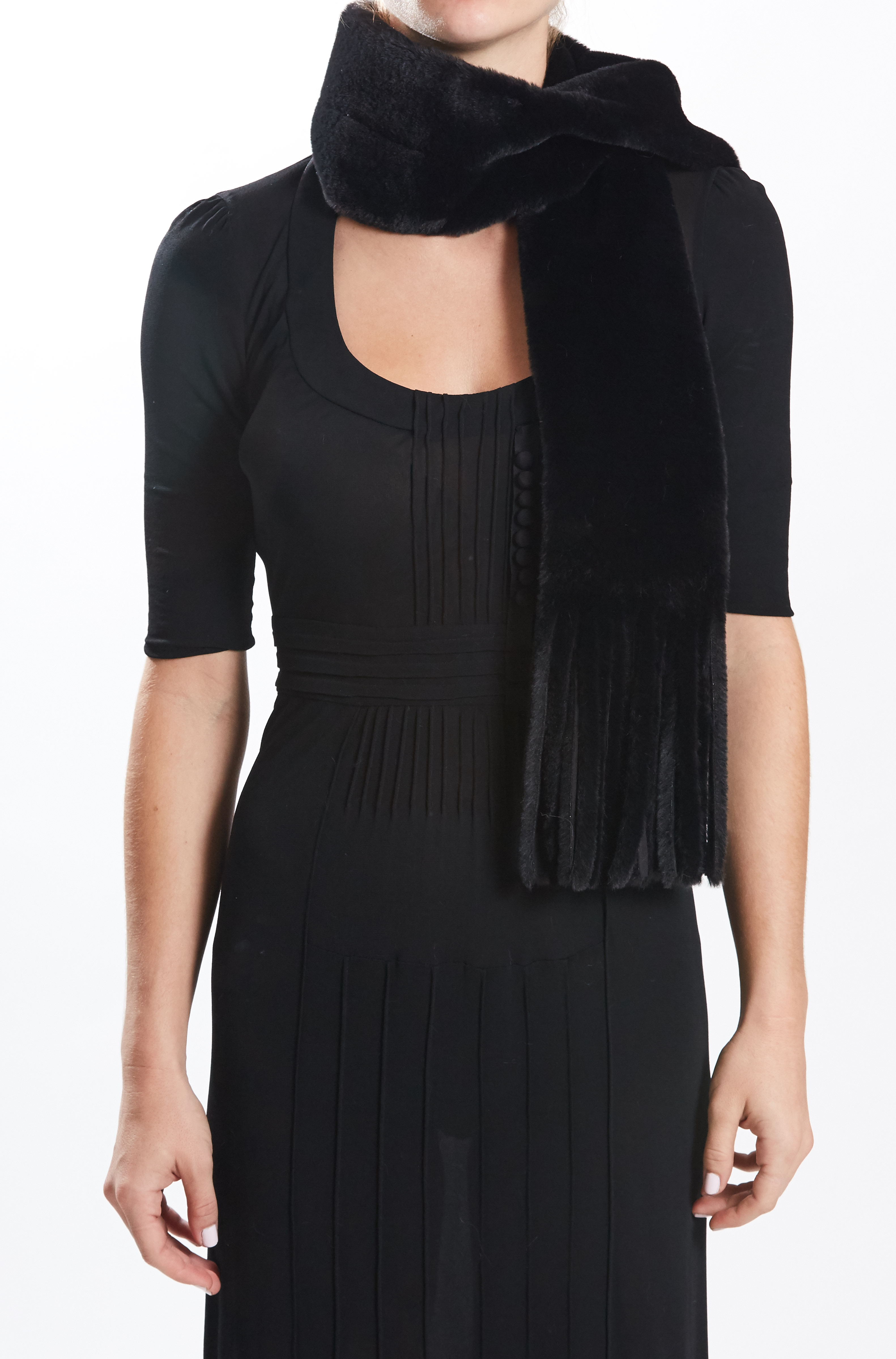 Fringe Scarf - Black/Black by Maison Atia on curated-crowd.com