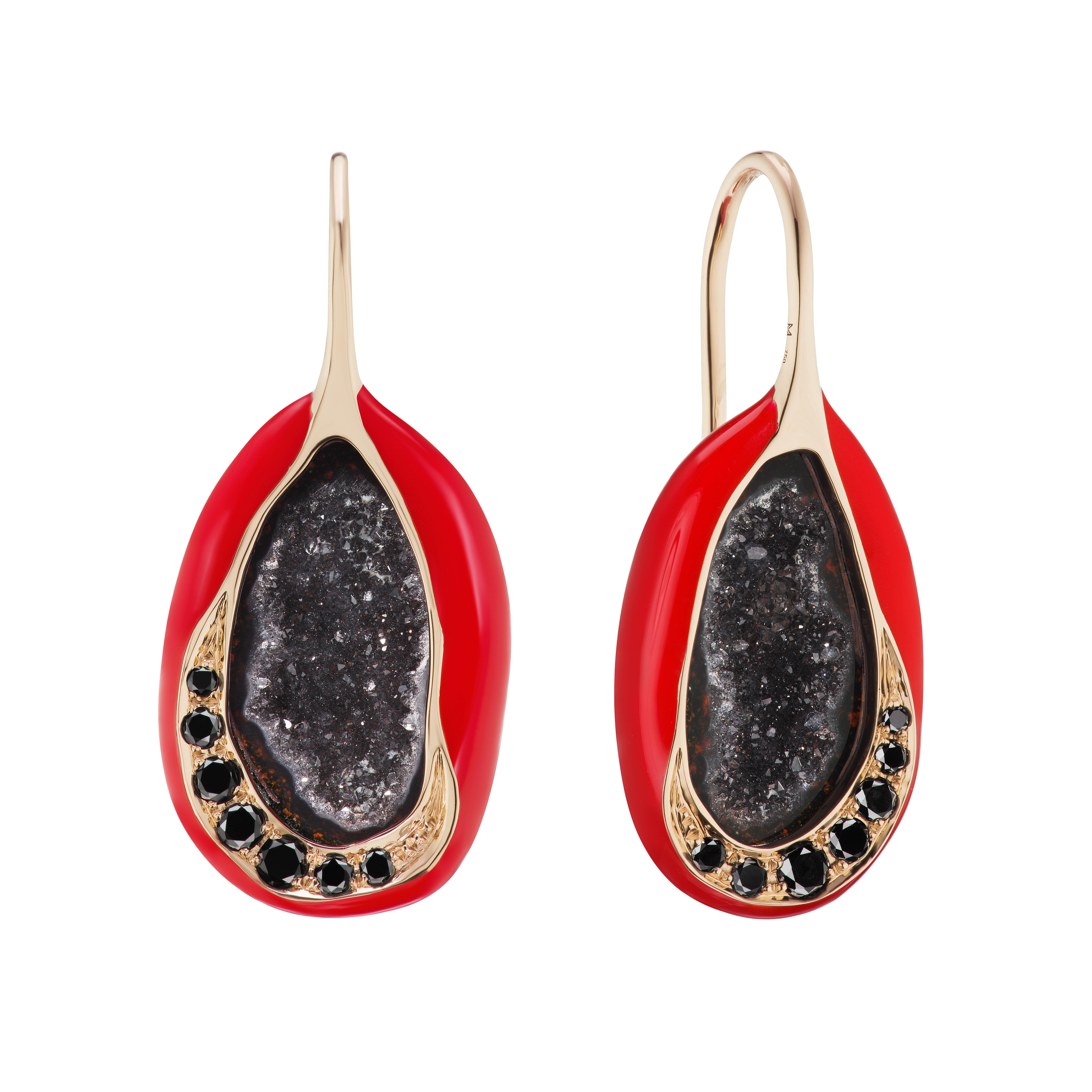 Scarlet Enamel Geode Drop Earrings by Marmari on curated-crowd.com