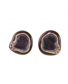 Plum Enamel Geode Studs by Marmari on curated-crowd.com
