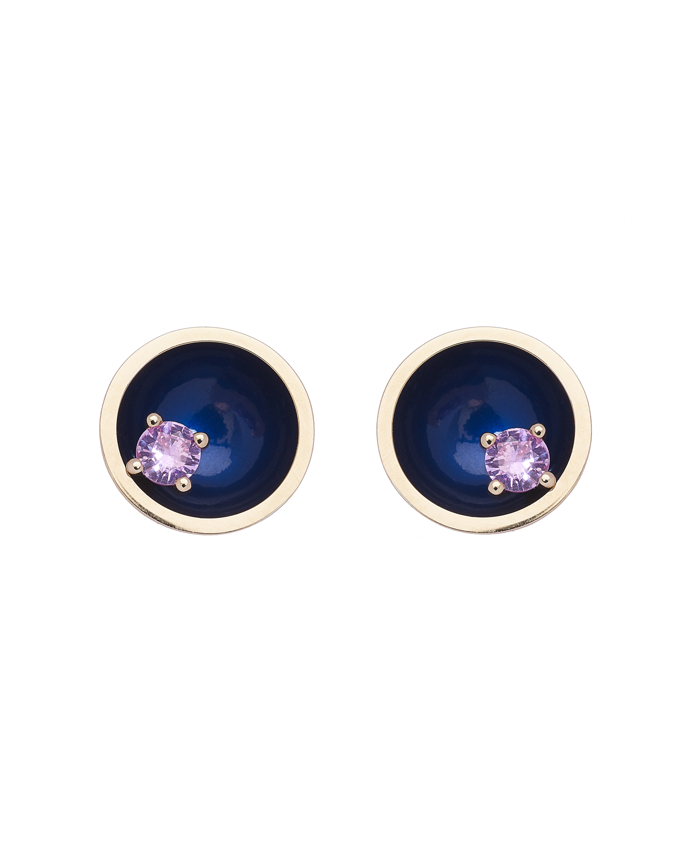 Large Floating Star Pink Sapphire Earrings by Marmari on curated-crowd.com