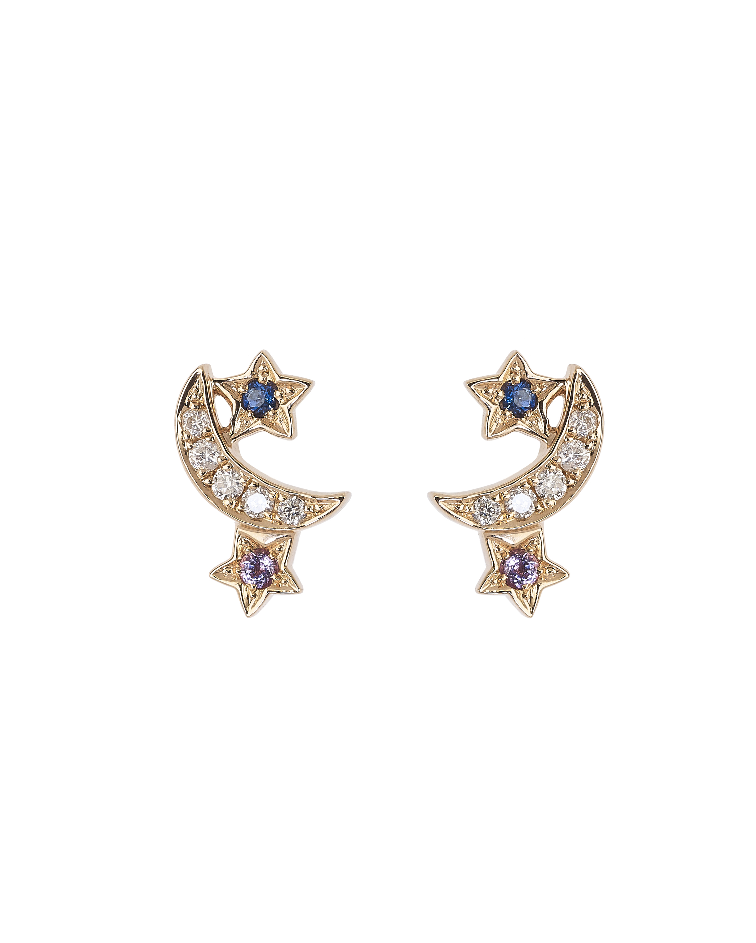 Rose Gold Lunar Cluster Earrings by Marmari on curated-crowd.com