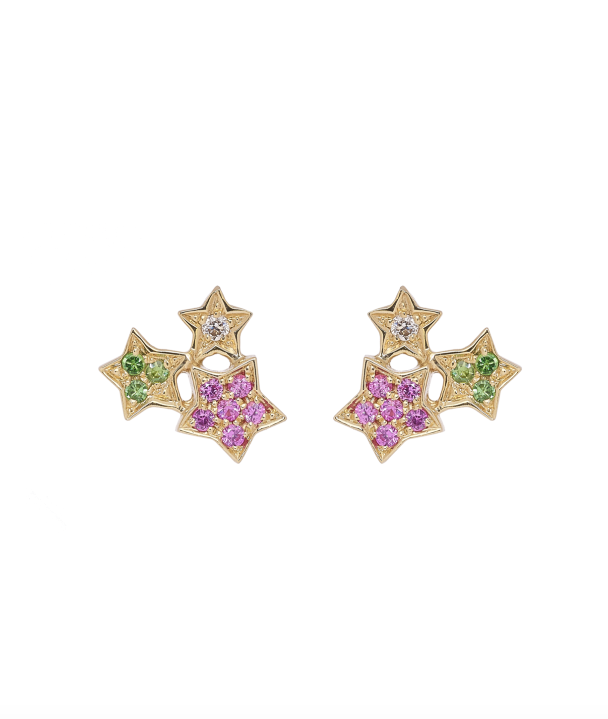 Golden Star Cluster Earrings by Marmari on curated-crowd.com