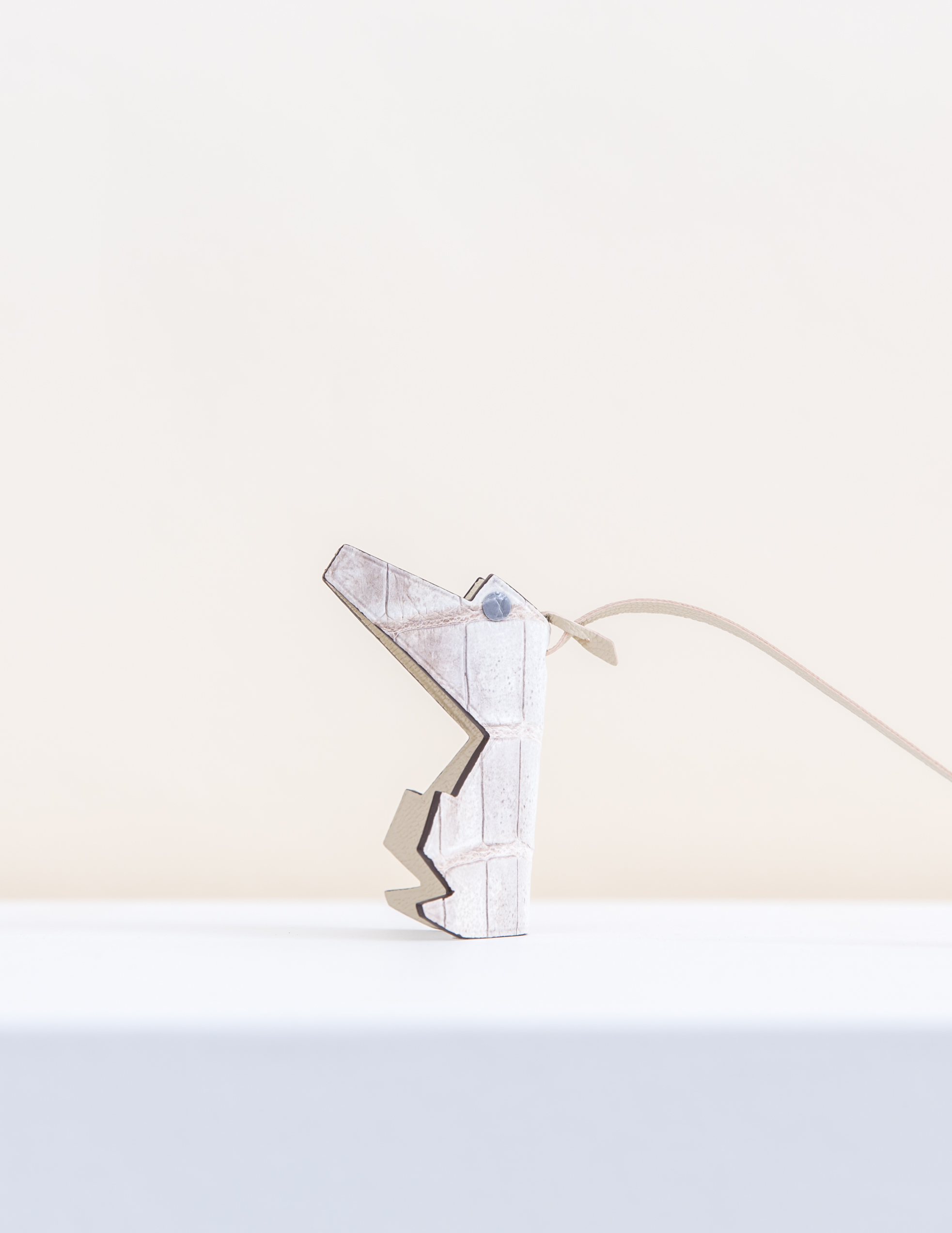 Mr Croco Bag Charm - White/Brown by Chance Mystère on curated-crowd.com