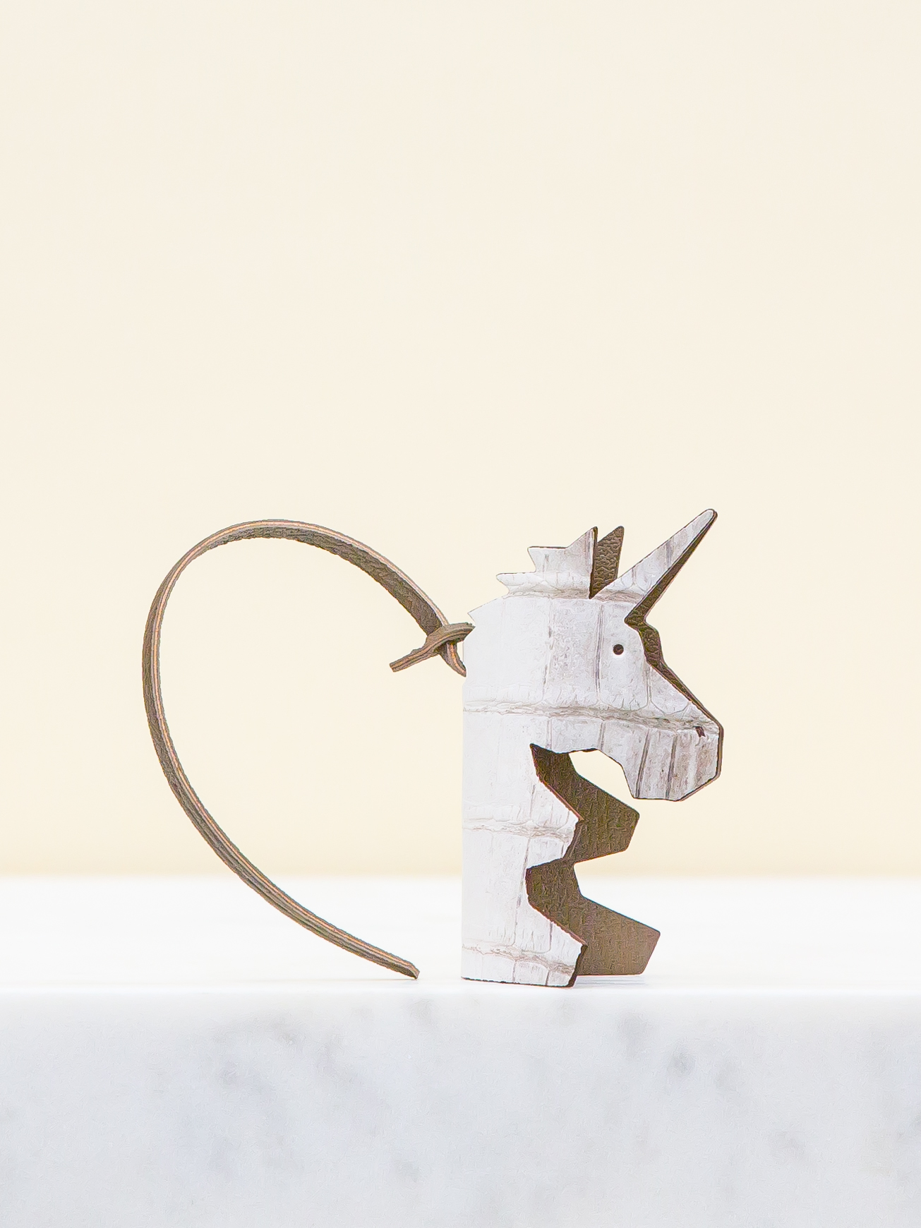 Magique Bag Charm - White/Brown by Chance Mystère on curated-crowd.com