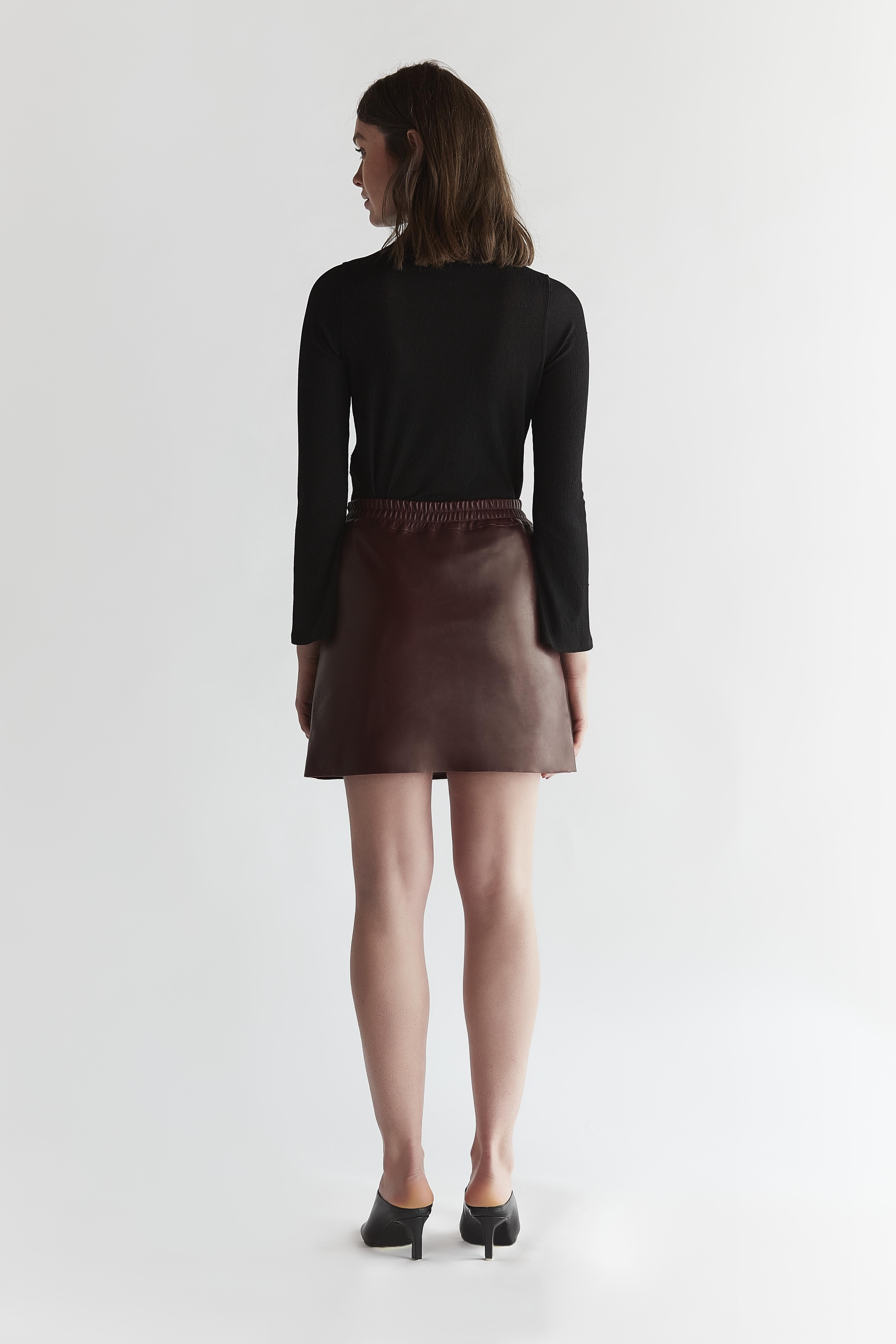 Short Leather skirt - Burgundy by The Ruf on curated-crowd.com