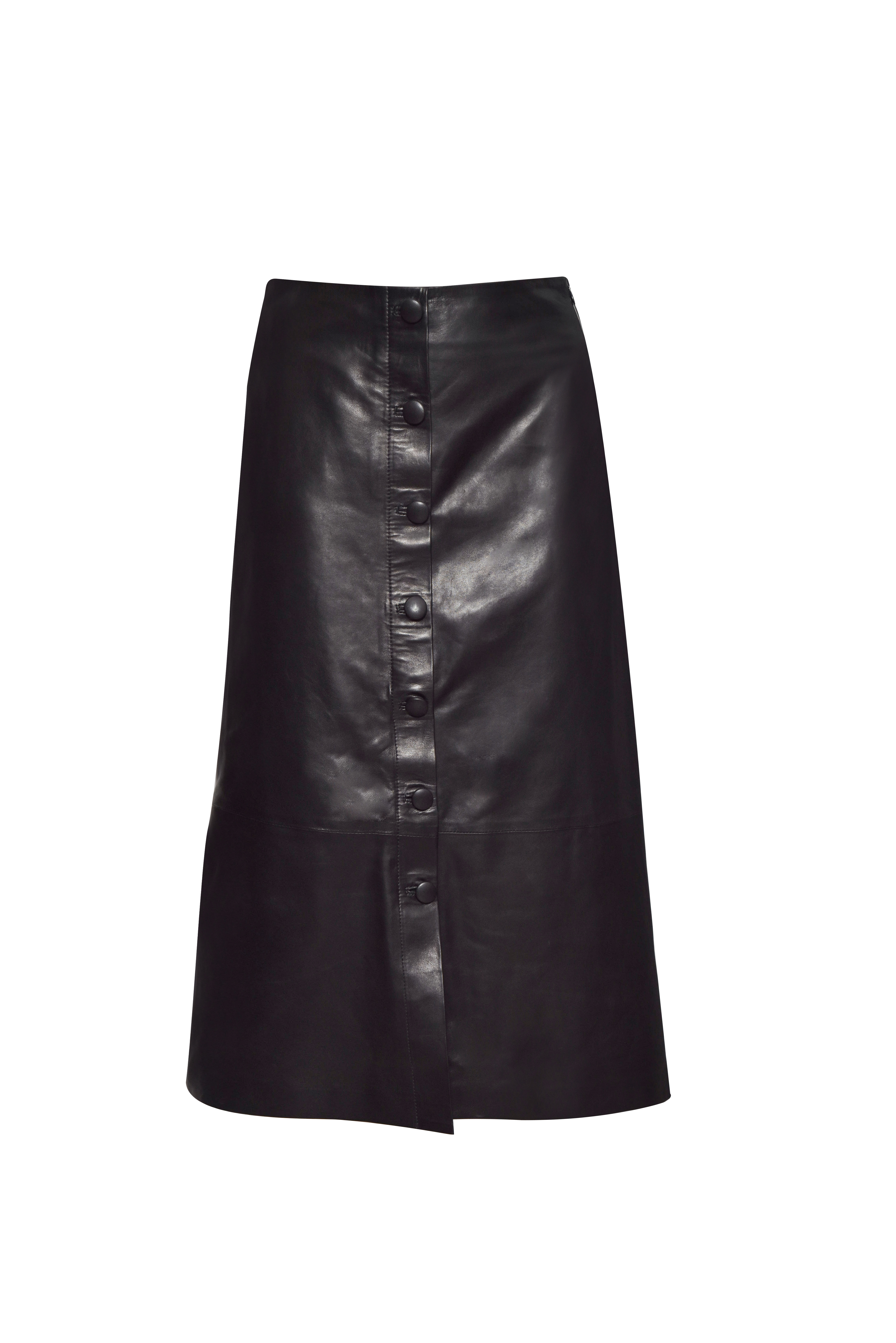 Button Front Midi Leather Skirt - Black by The Ruf on curated-crowd.com