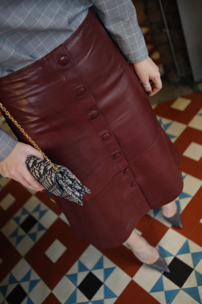 Button Front Midi Leather Skirt - Burgundy by The Ruf on curated-crowd.com