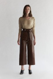 High Waisted Leather Pants - Burgundy by The Ruf on curated-crowd.com