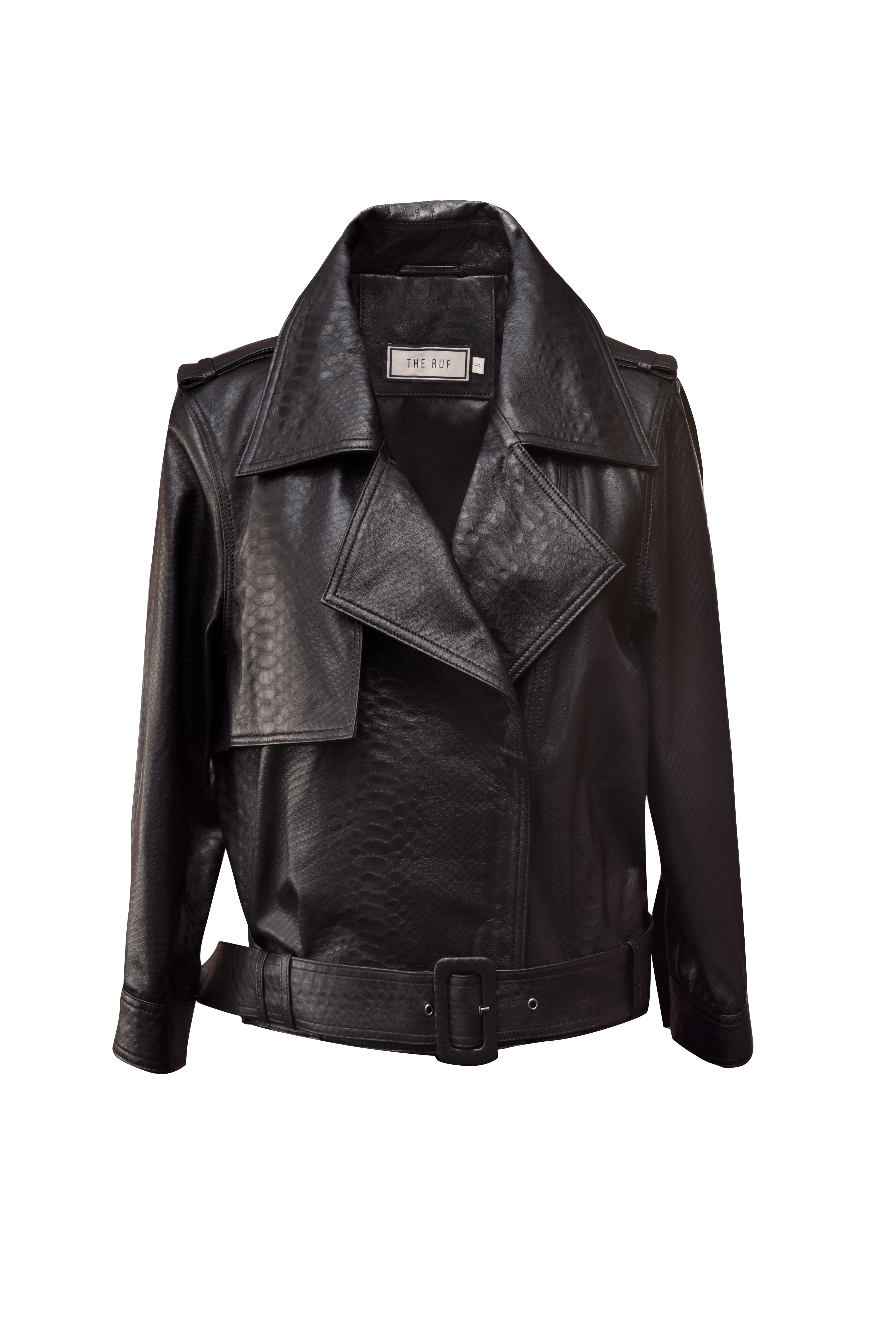 Python-Embossed Leather Jacket - Black by The Ruf on curated-crowd.com
