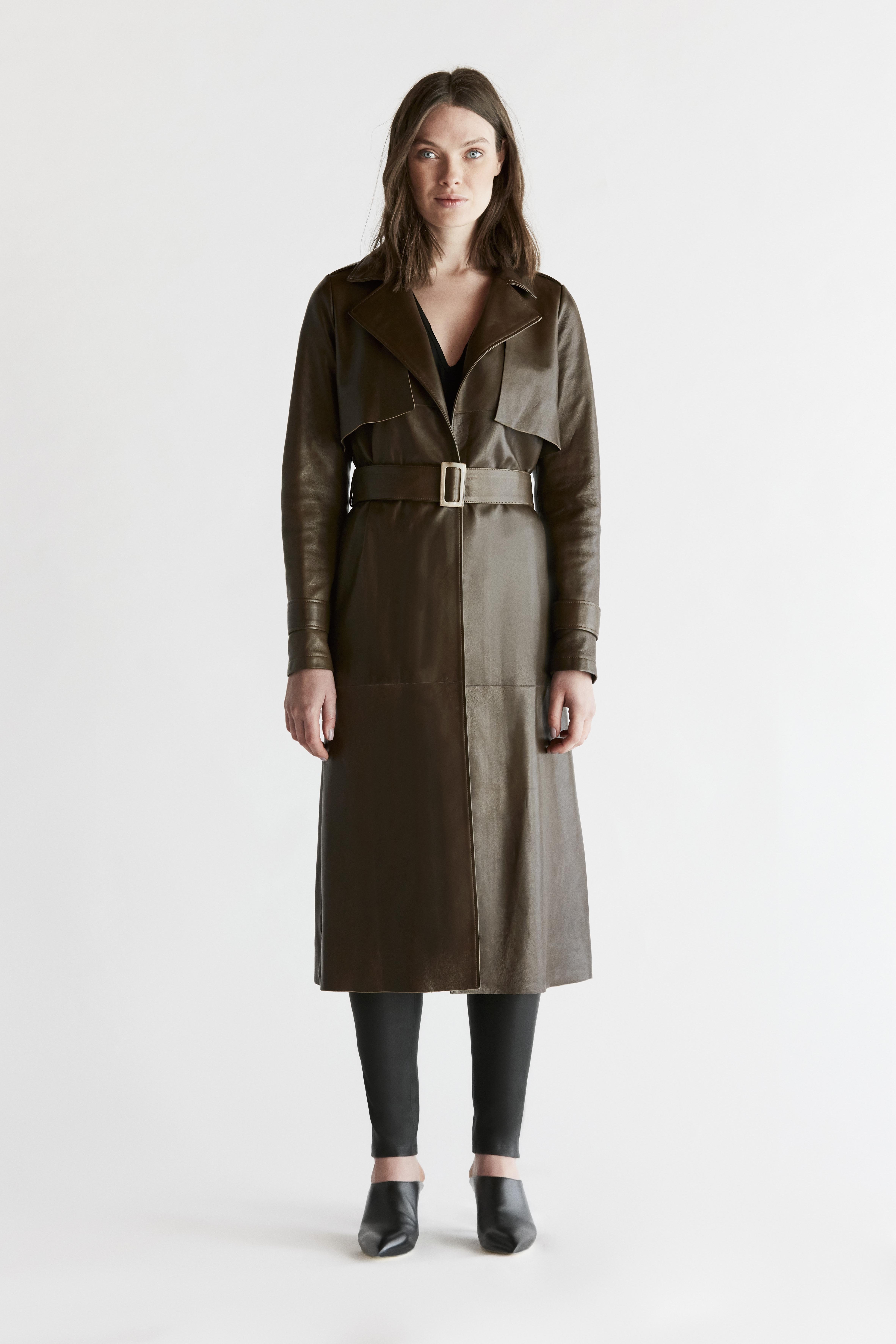 Leather Trenchcoat - Green by The Ruf on curated-crowd.com
