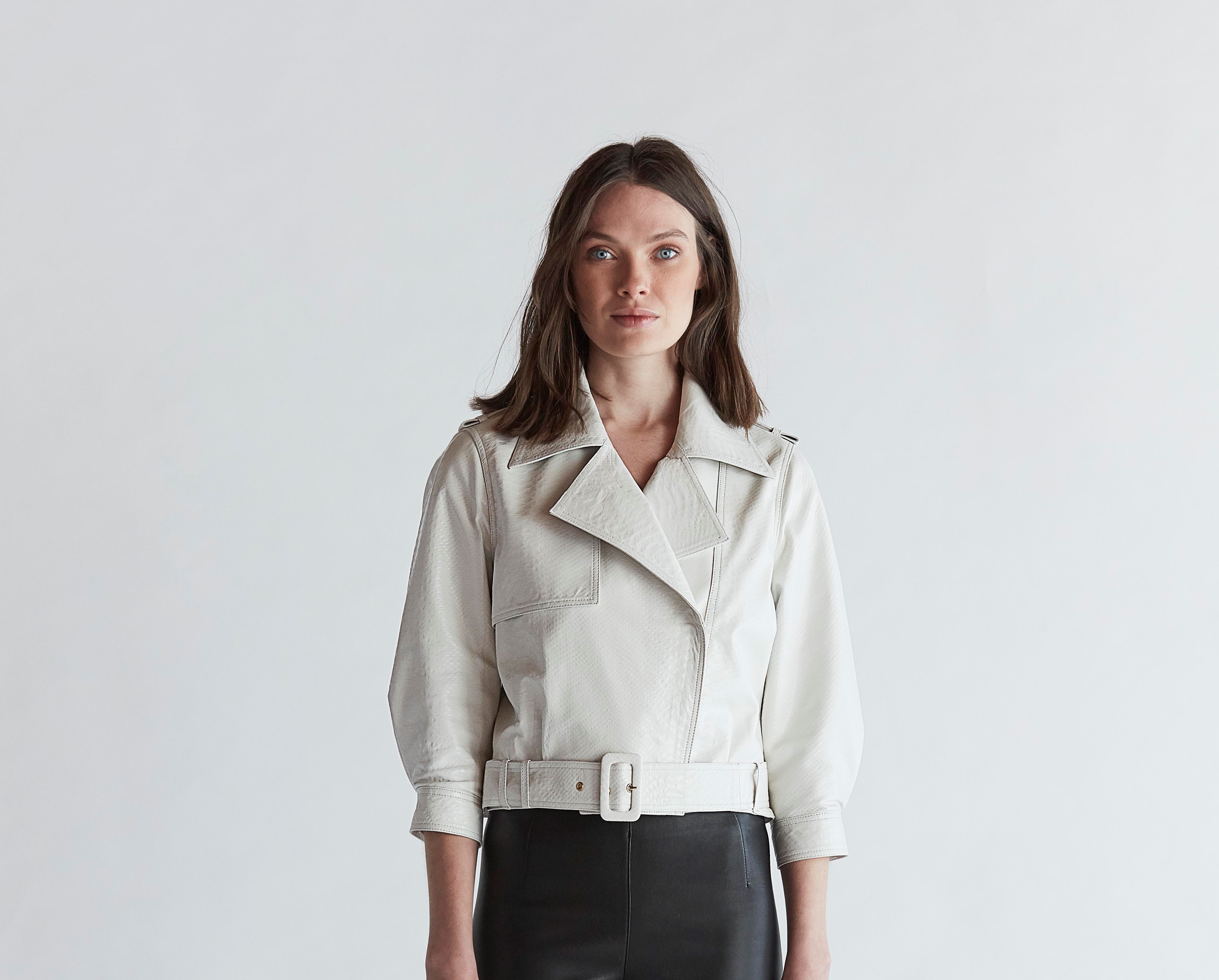 Python-Embossed Leather Jacket - White by The Ruf on curated-crowd.com
