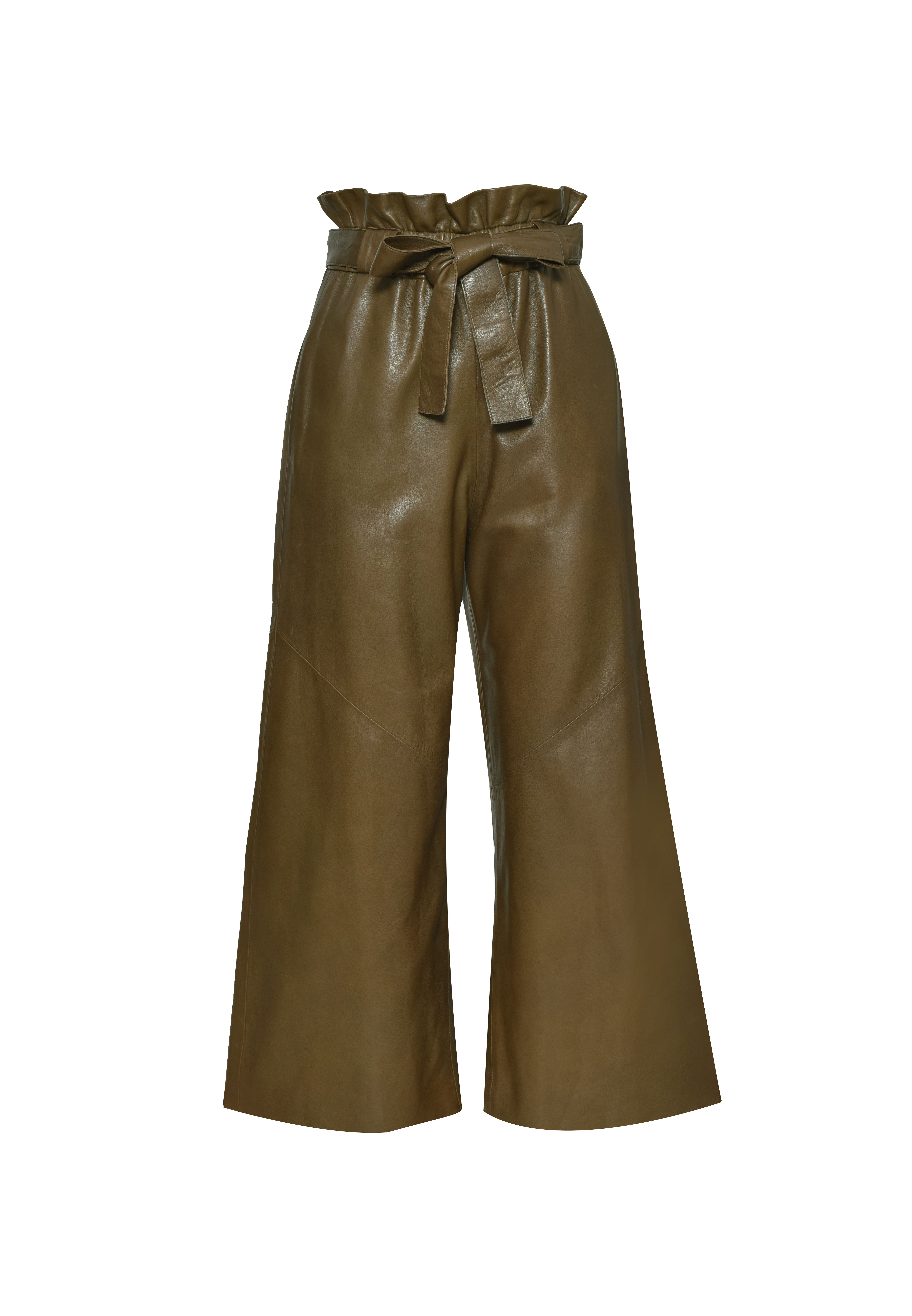 High Waisted Leather Pants - Green by The Ruf on curated-crowd.com
