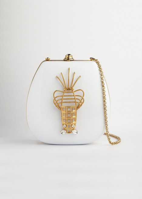 White Lobster Luxury Evening Bag by Sonia Petroff on curated-crowd.com