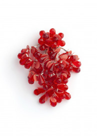 Red Pom Pom Costume Brooch by Sonia Petroff on curated-crowd.com
