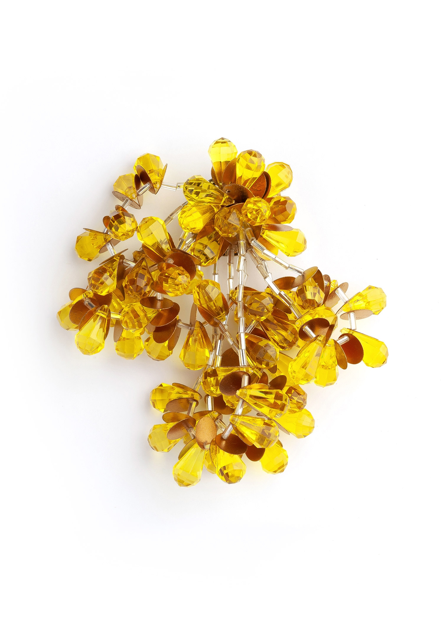 Yellow Pom Pom Costume Brooch by Sonia Petroff on curated-crowd.com
