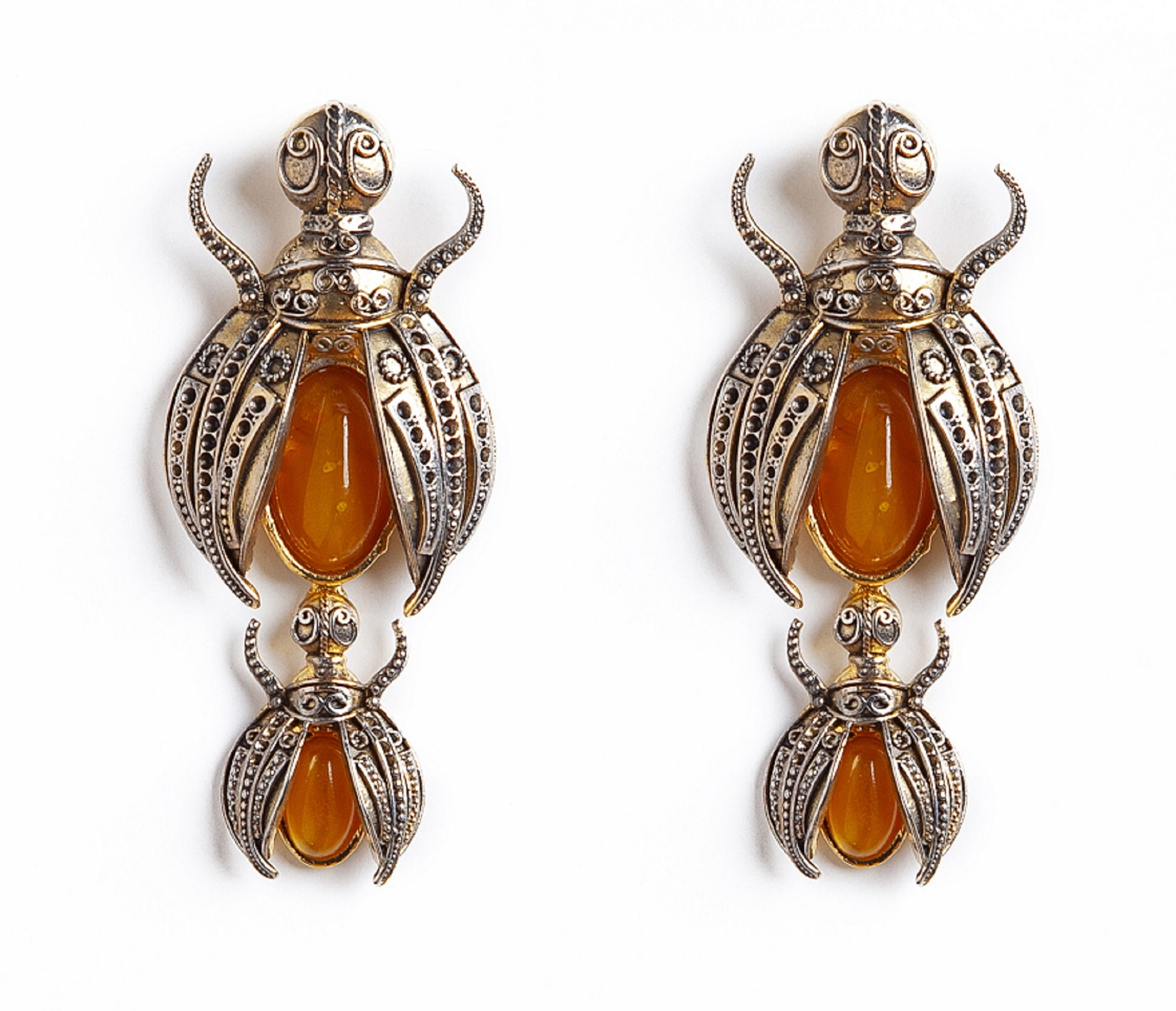 Scarab Luxury Earrings (Clip) by Sonia Petroff on curated-crowd.com