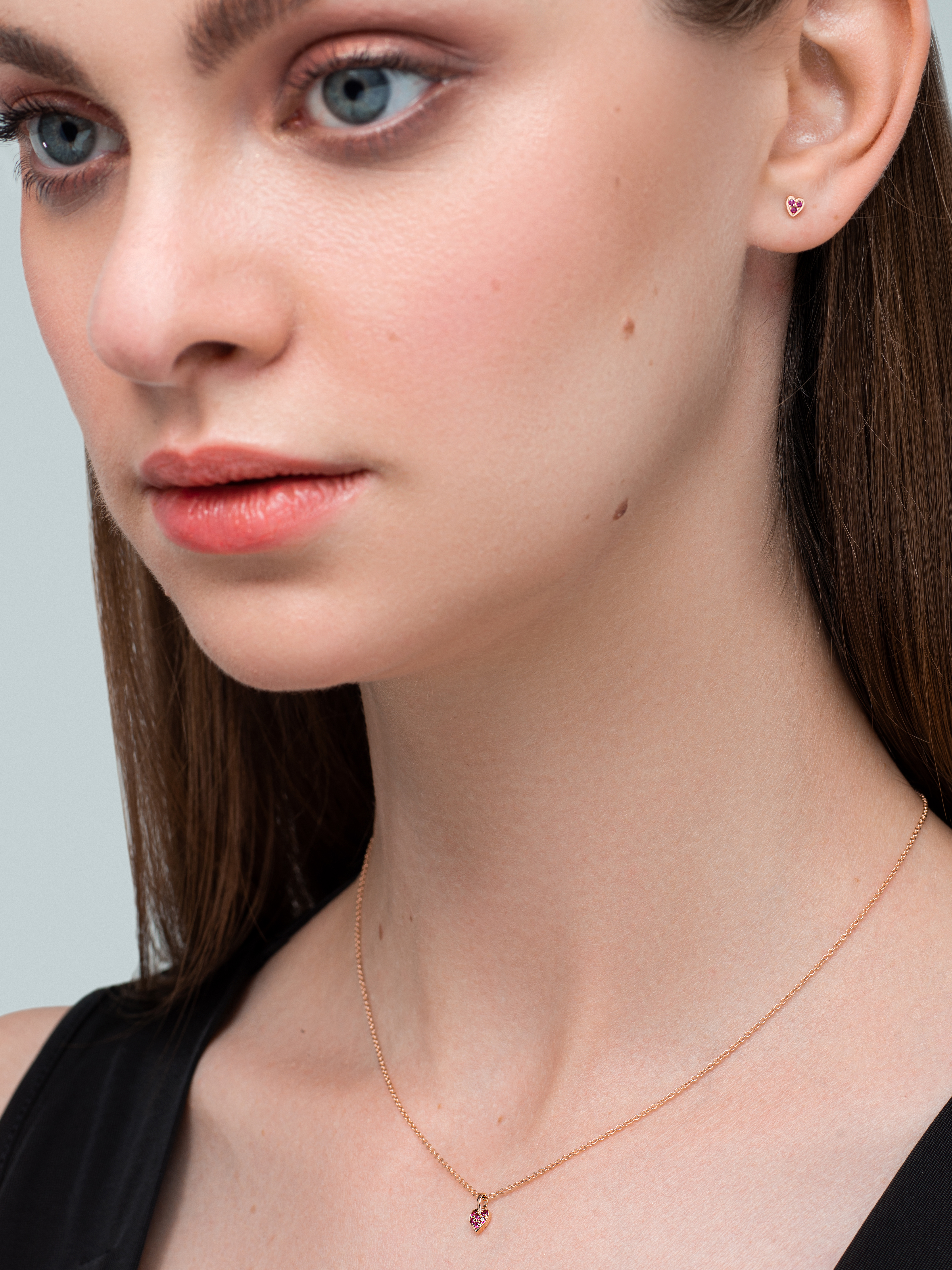 Queen of Hearts Single Ruby Heart Earring by Marmari on curated-crowd.com