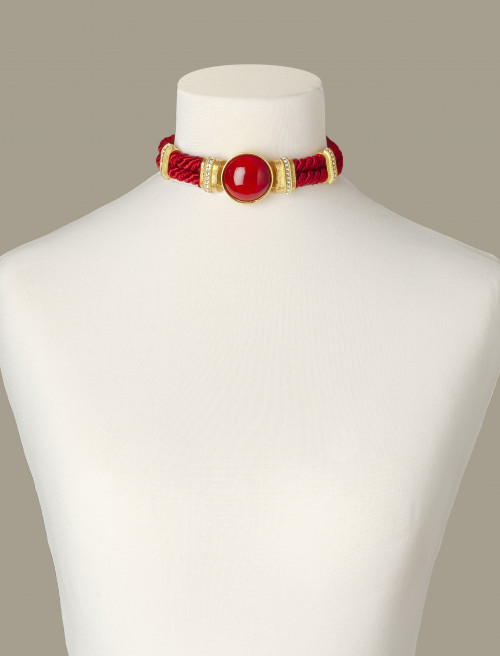 Red Aries Costume Statement Necklace by Sonia Petroff on curated-crowd.com