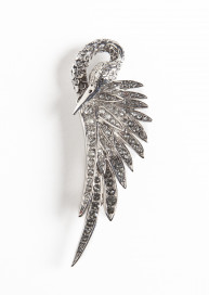 Silver Swan Costume Brooch by Sonia Petroff on curated-crowd.com