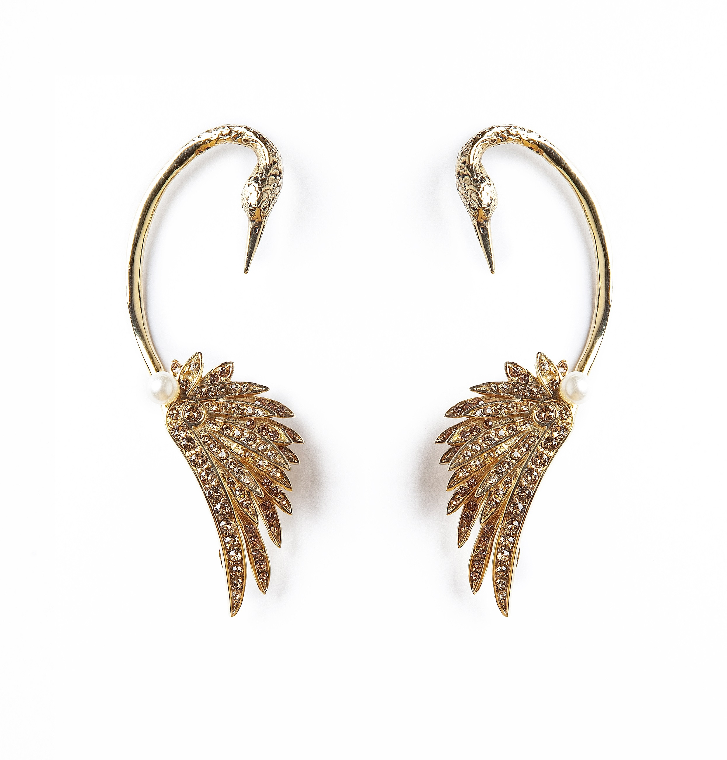 Gold Swan Luxury Earrings by Sonia Petroff on curated-crowd.com