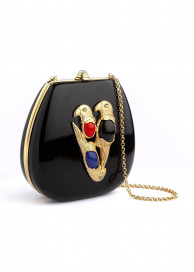 Black Parrot Luxury Evening Bag by Sonia Petroff on curated-crowd.com