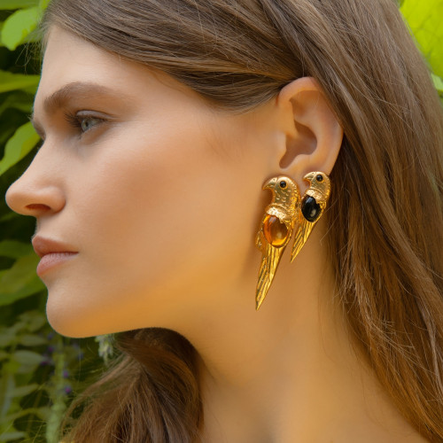 Parrot Luxury Earrings by Sonia Petroff on curated-crowd.com