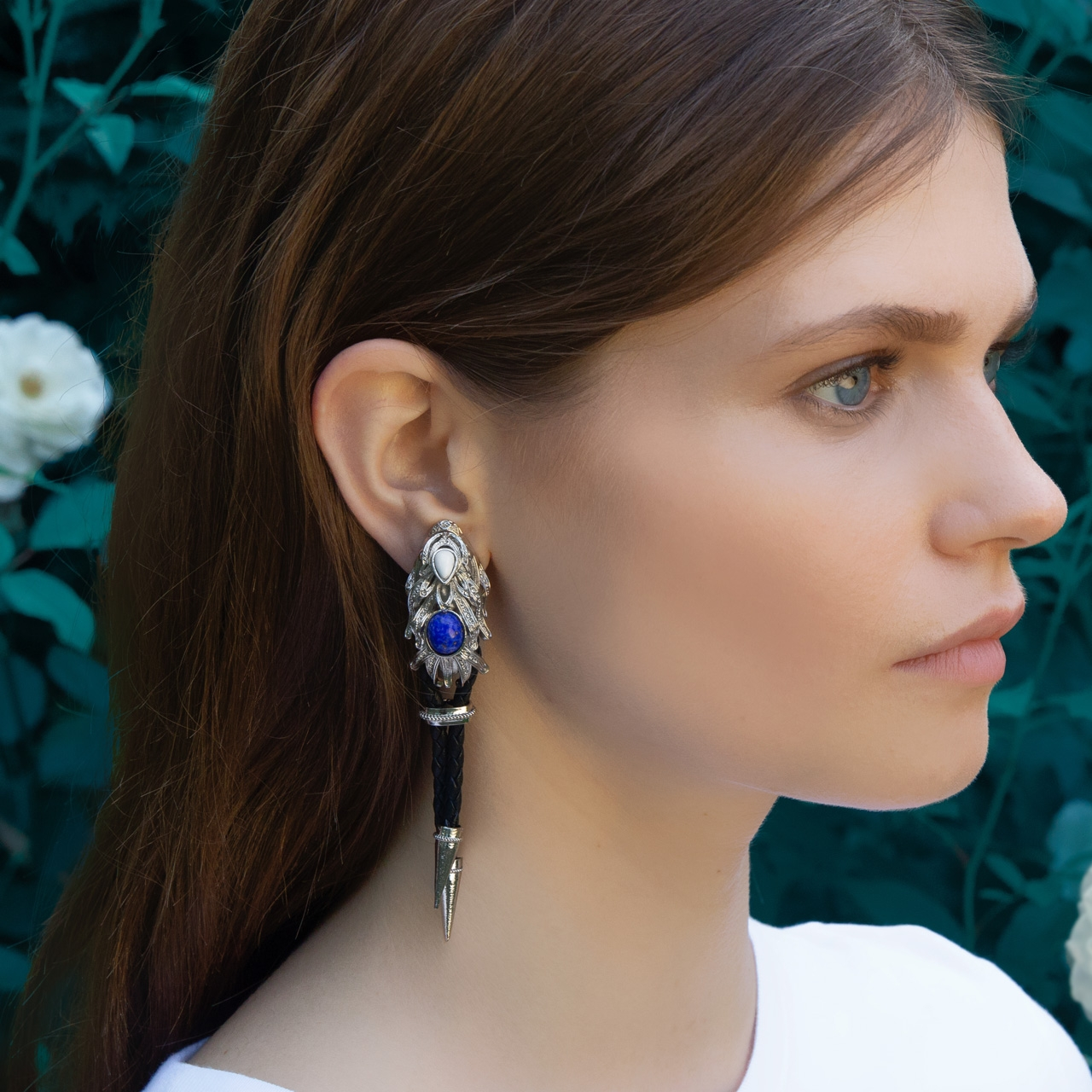White Silver Dragonfish Luxury Earrings by Sonia Petroff on curated-crowd.com