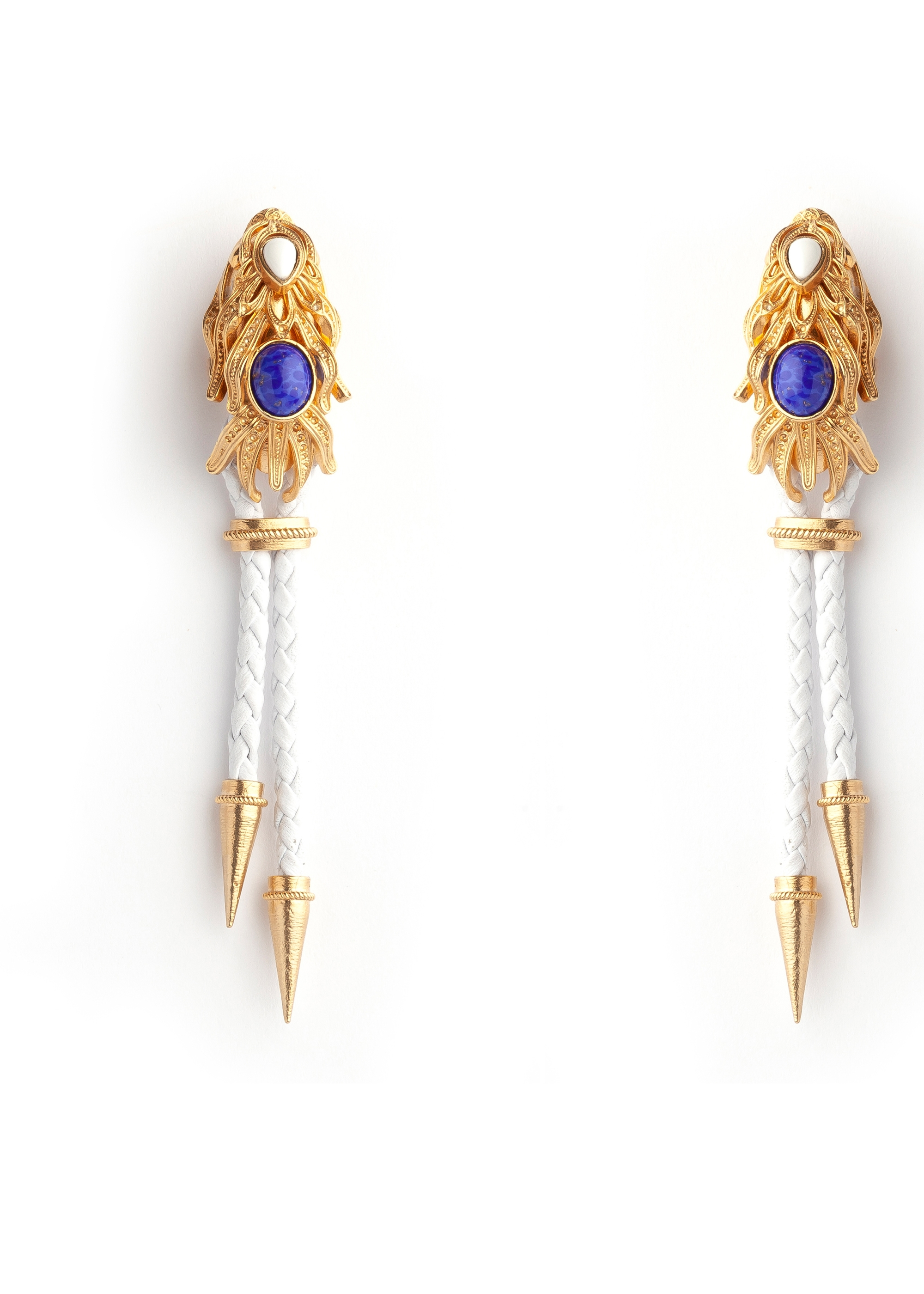 White Gold Dragonfish Luxury Earrings by Sonia Petroff on curated-crowd.com