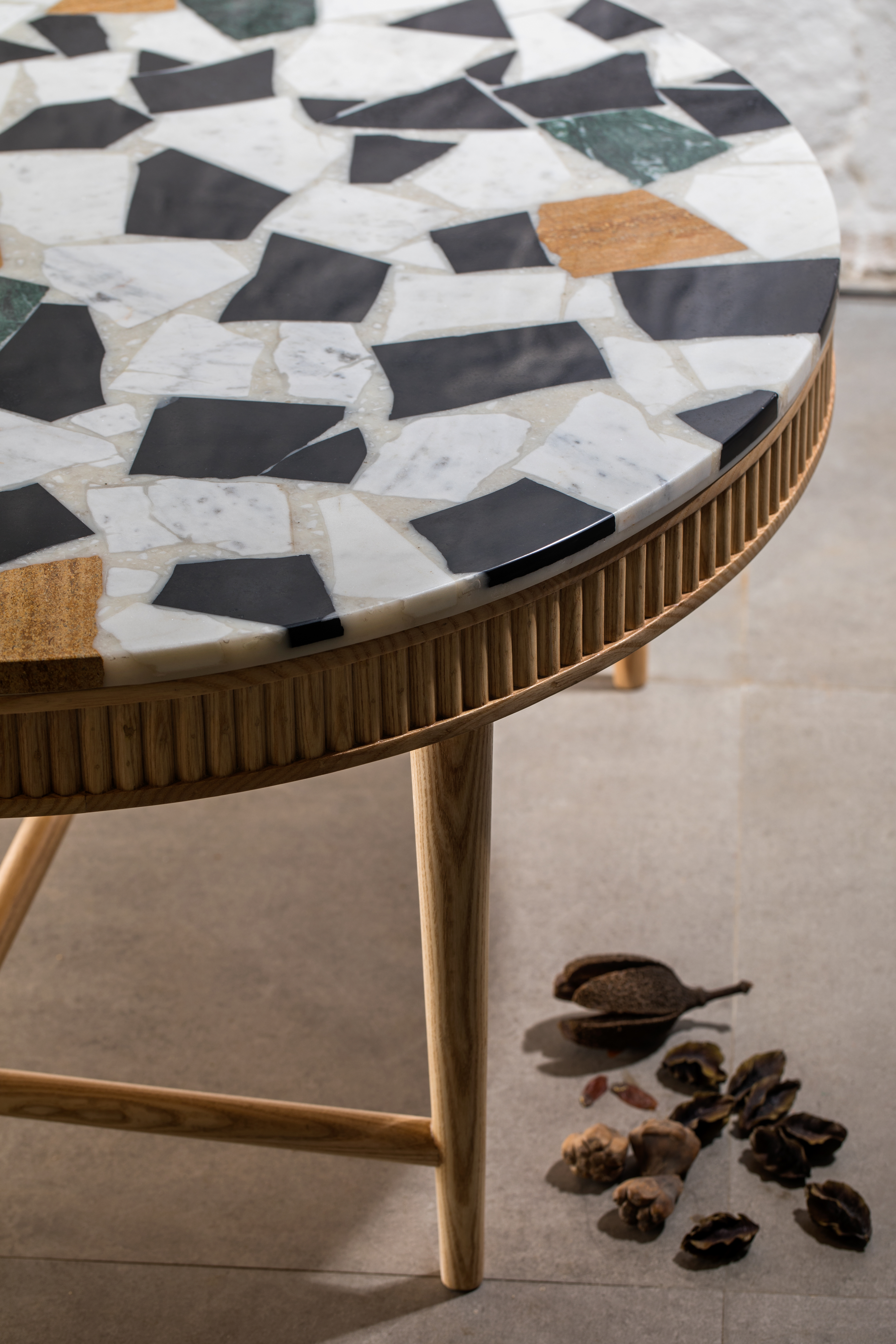 Mausam Coffee Table | Marble Off-cuts Top by Kam Ce Kam on curated-crowd.com