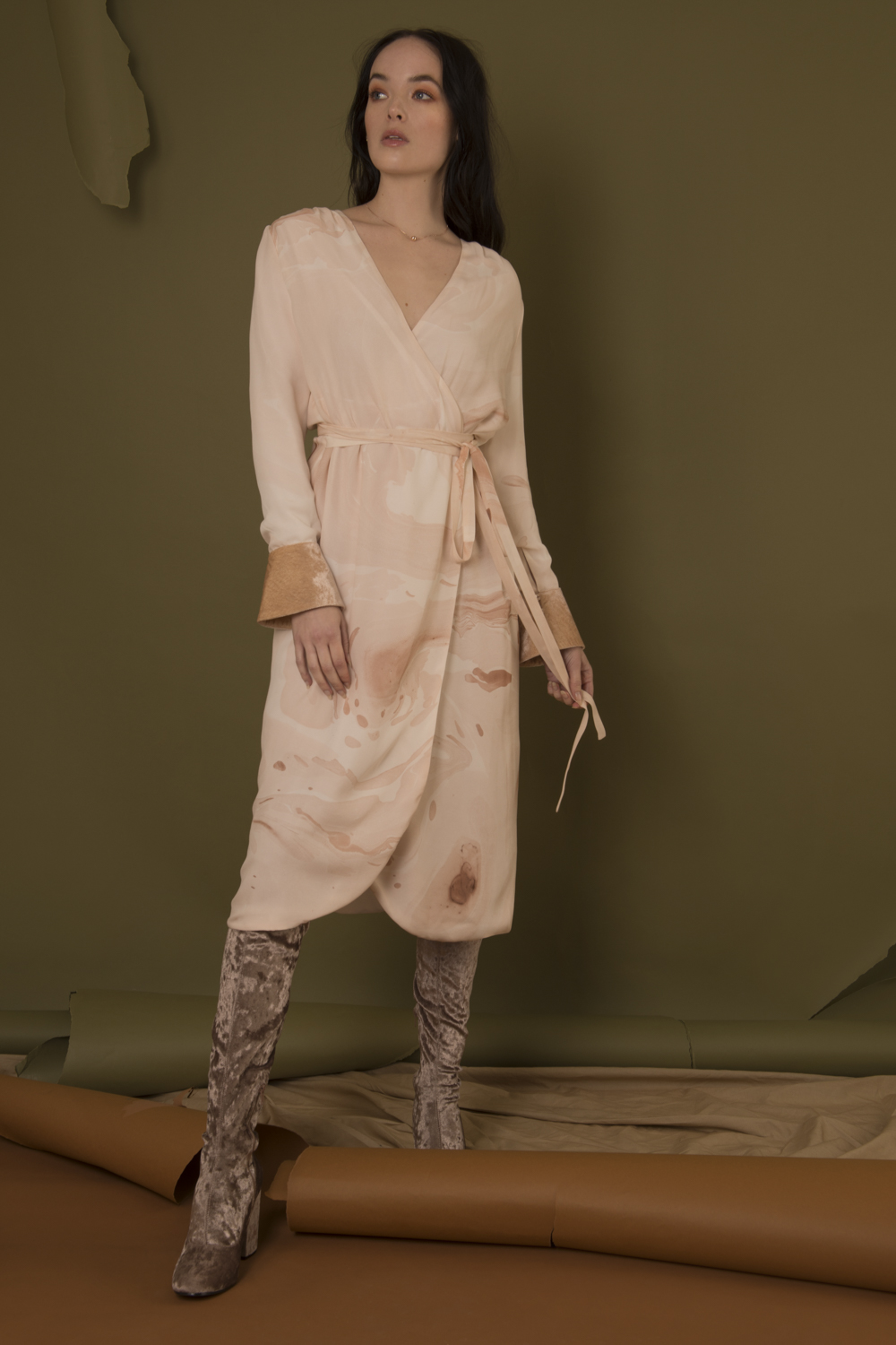 Marbled Wrap Around Dress by Edward Mongzar on curated-crowd.com