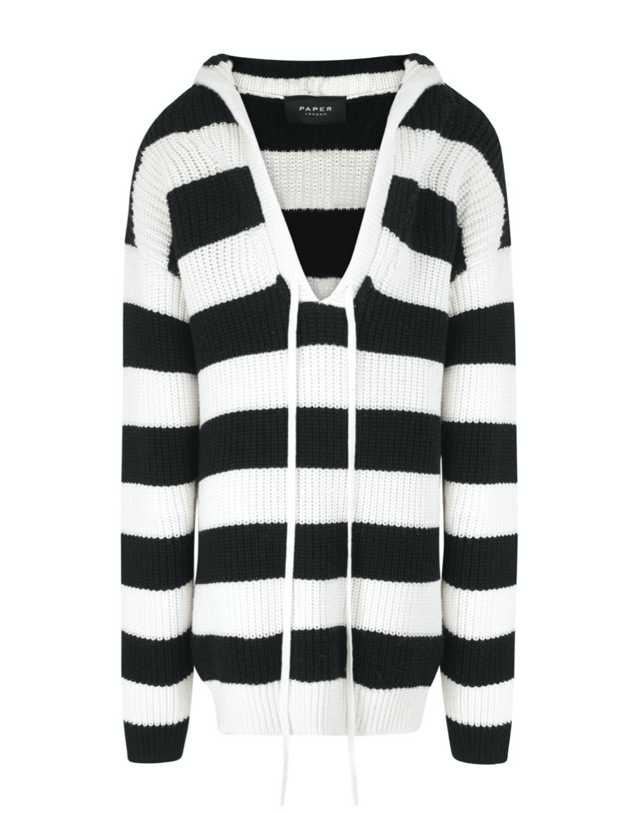 Orchid Stripe Hoodie - Black and white by PAPER London on curated-crowd.com