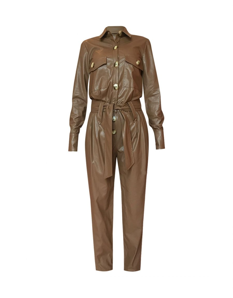 Canyon Faux Leather Jumpsuit - Camel by Jessica K on curated-crowd.com
