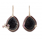 Plum Enamel Geode Drop Earrings by Marmari on curated-crowd.com