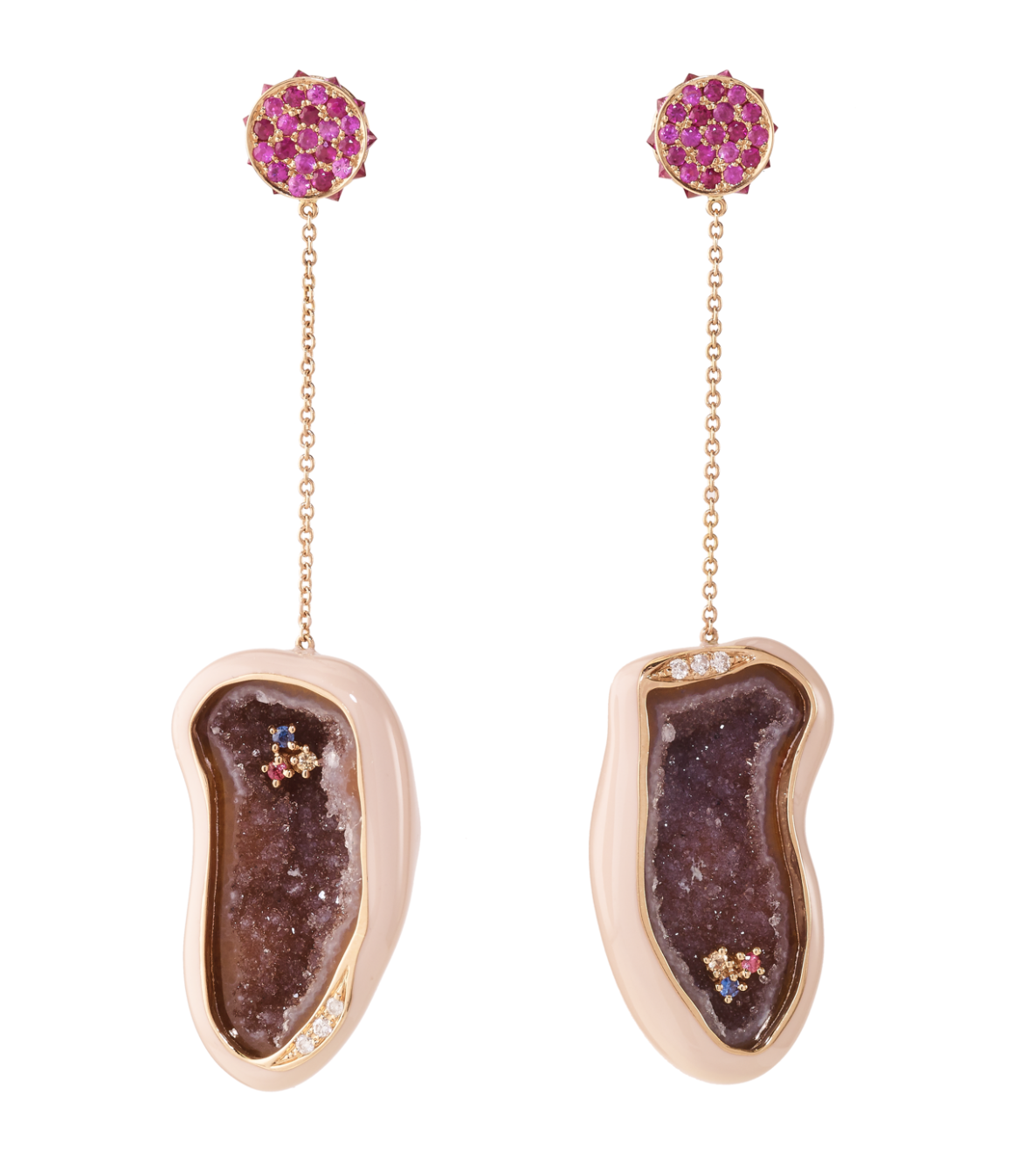 Flare Shell Enamel Geode Earrings by Marmari on curated-crowd.com