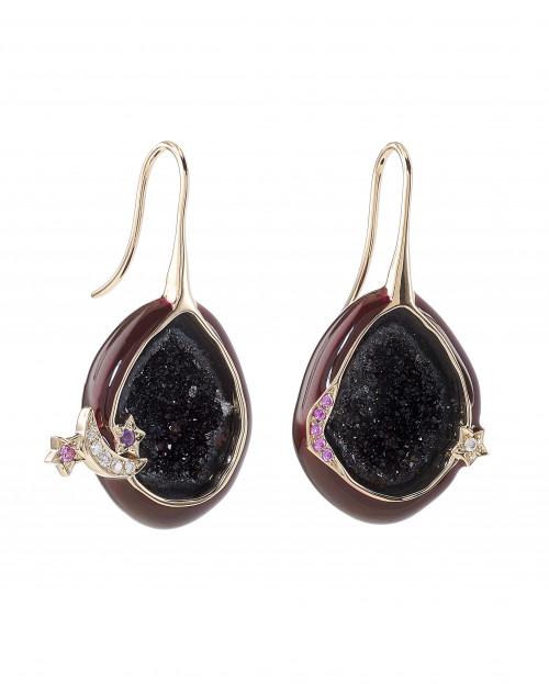 Plum Enamel Geode Drop Earrings by Marmari on curated-crowd.com