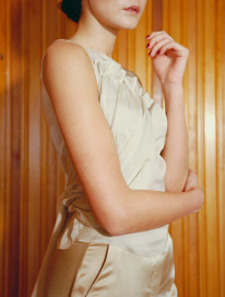 Aegis Draped Top - Pale Green by Laura Ironside on curated-crowd.com
