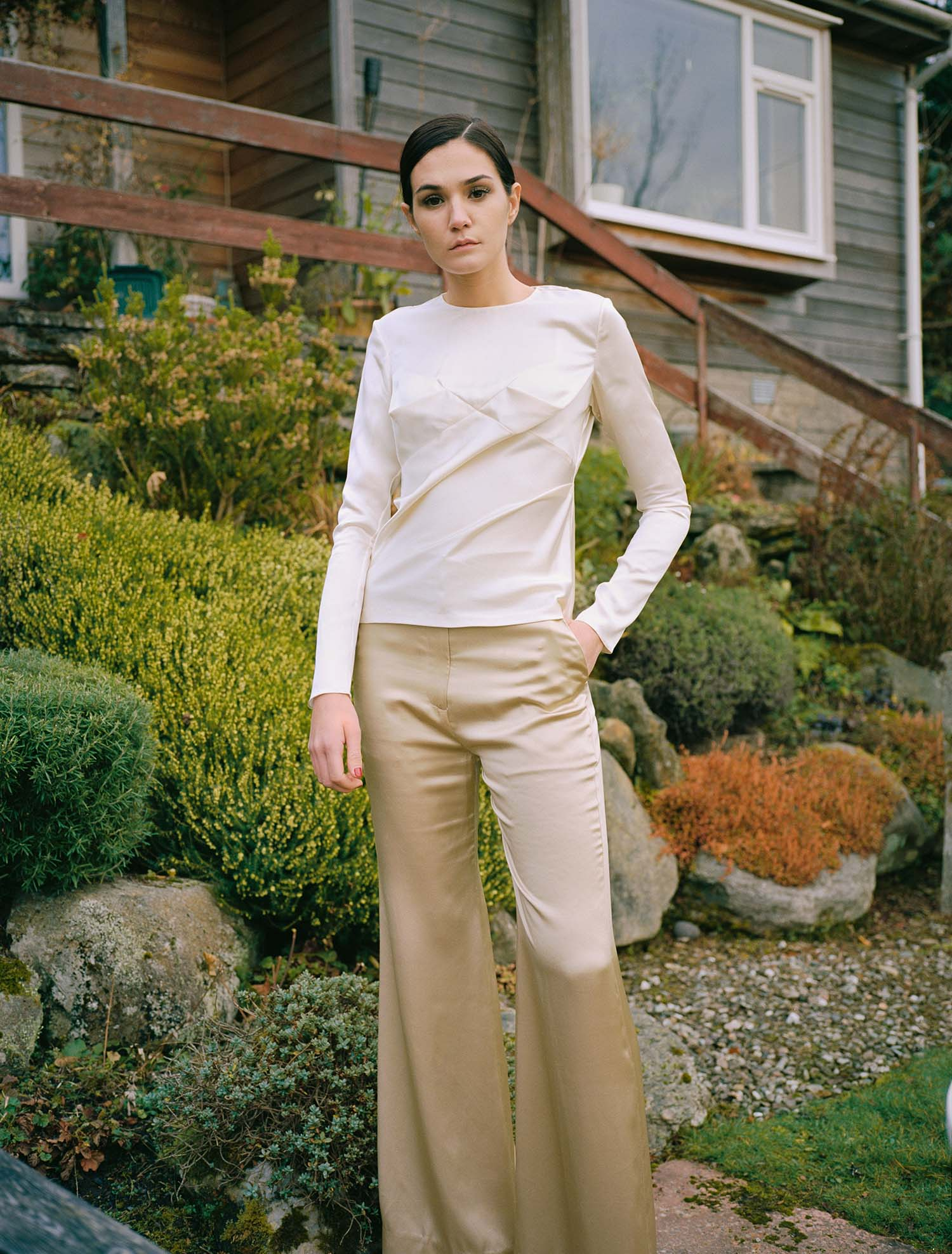 Hero High-Waisted Trousers - Pale Gold by Laura Ironside on curated-crowd.com