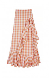 Patio Skirt - Orange Check by Berta Cabestany on curated-crowd.com
