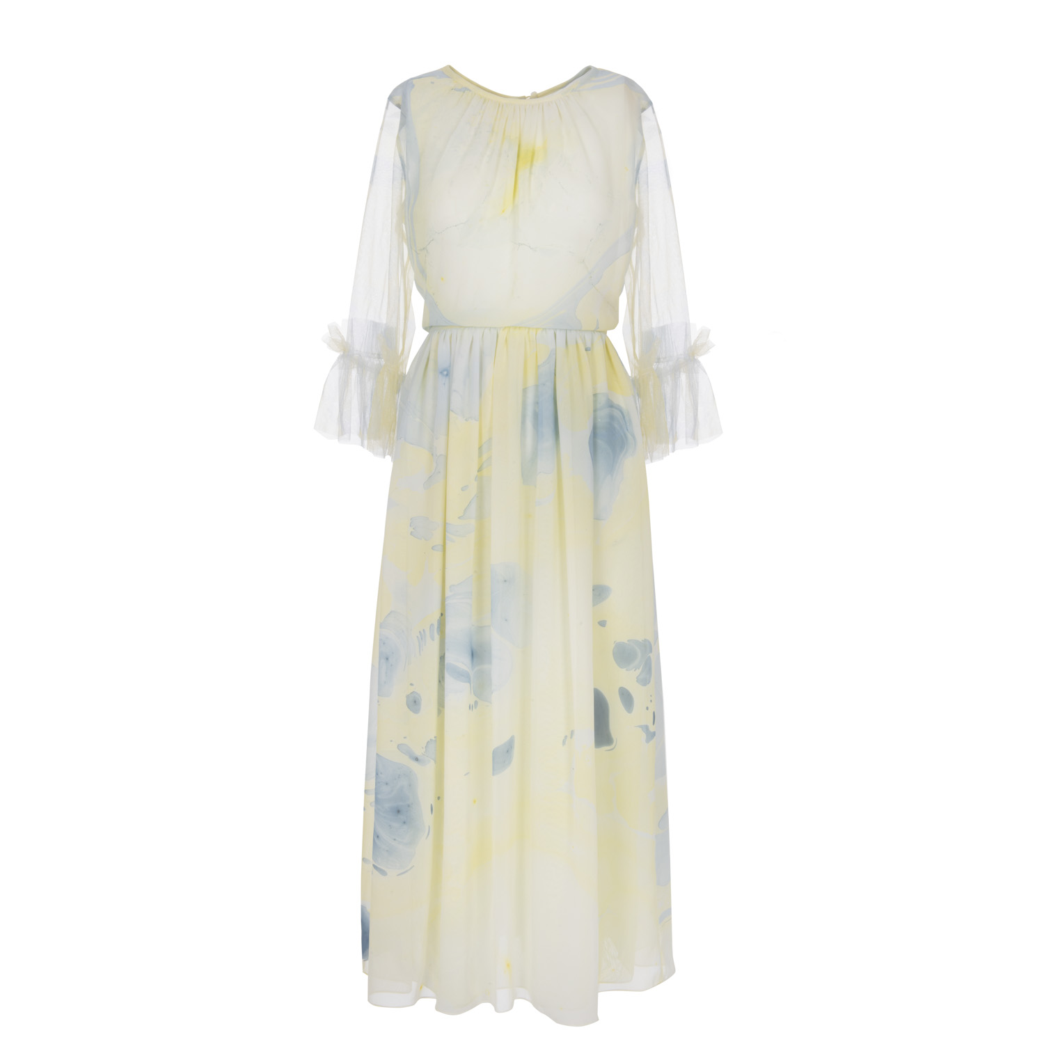 Hand Marbled Gather Dress by Edward Mongzar on curated-crowd.com