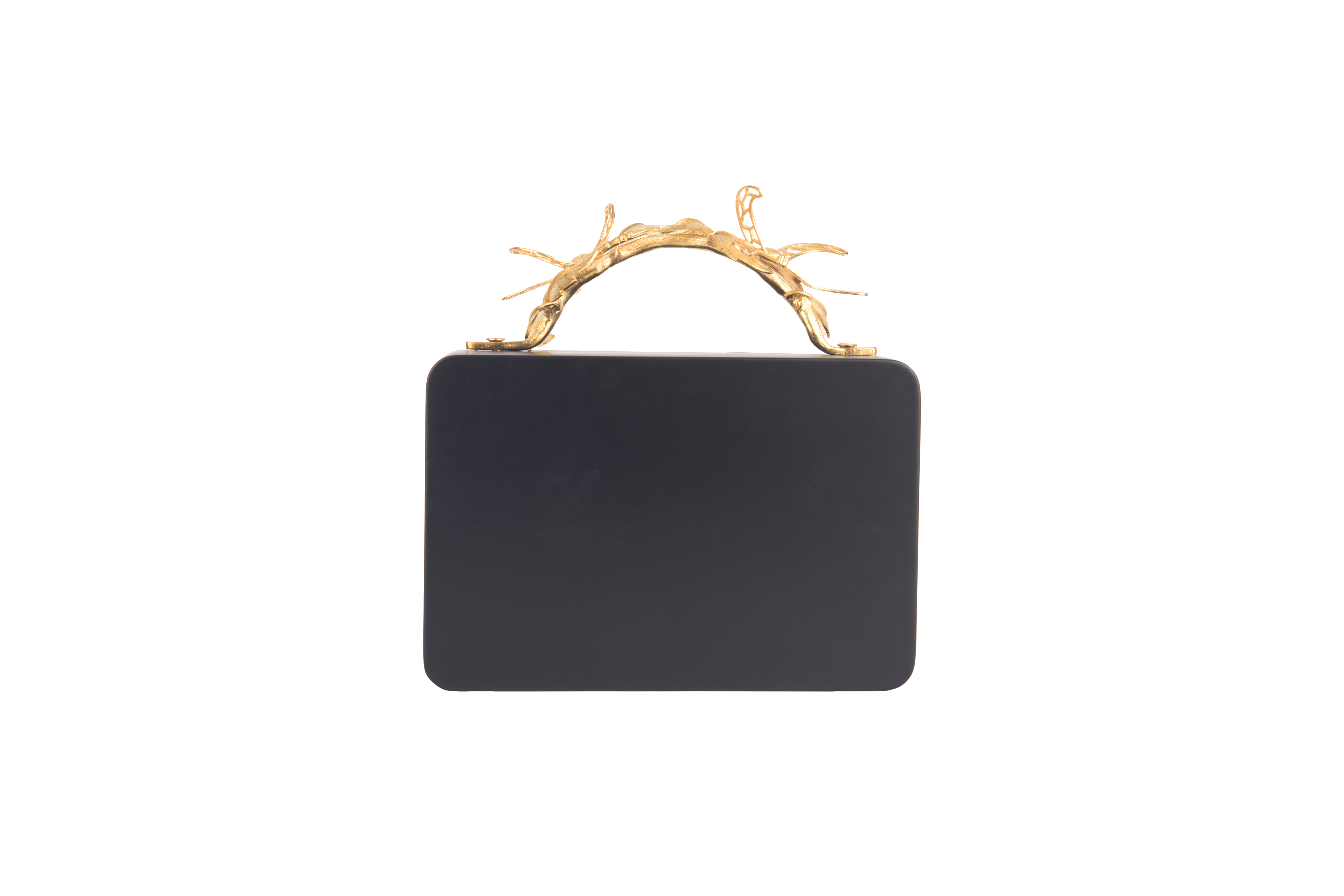 Assymetric Black Grasshopper Clutch by Duet Luxury on curated-crowd.com