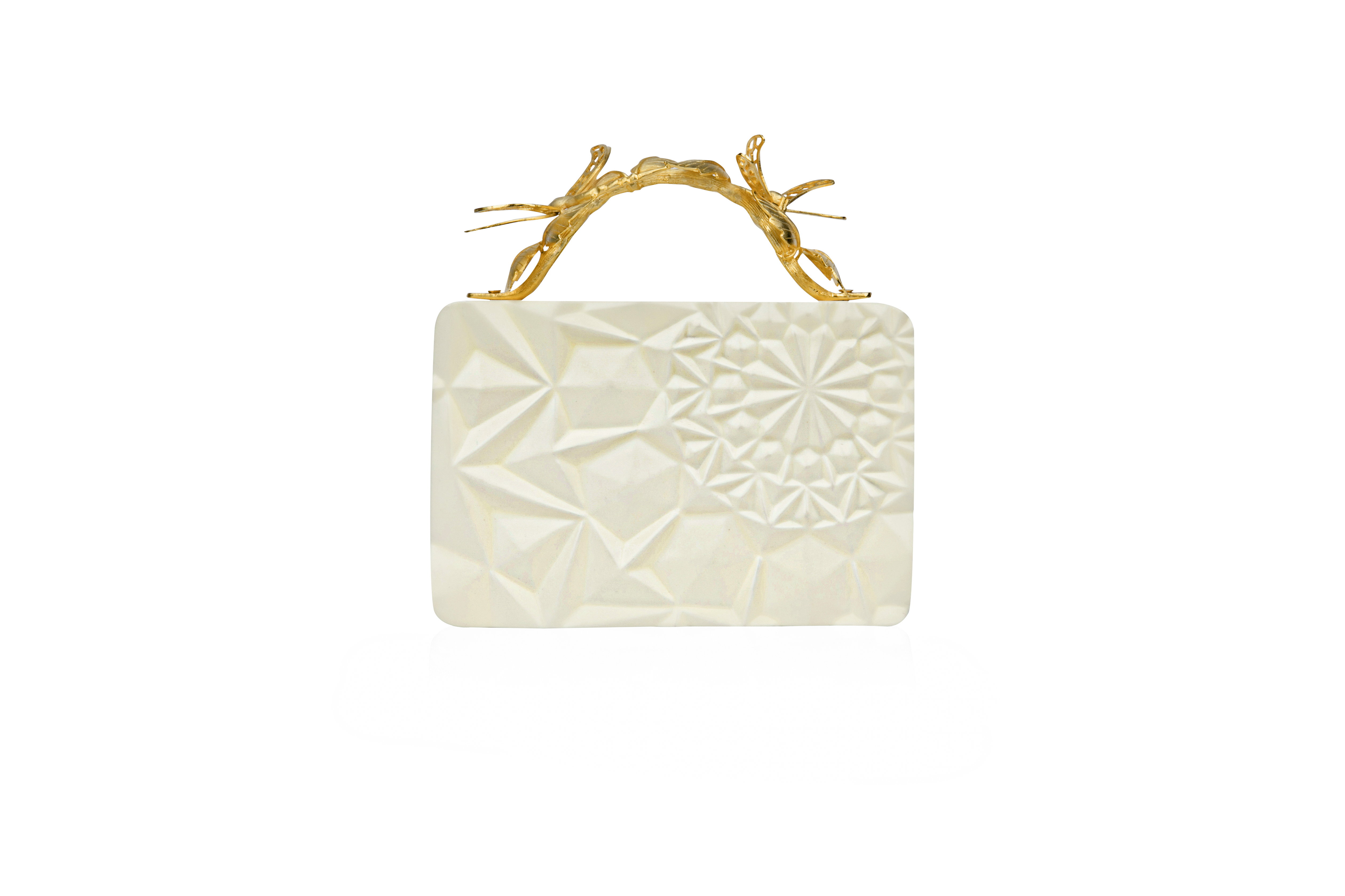 Floral Cream Grasshopper Clutch by Duet Luxury on curated-crowd.com