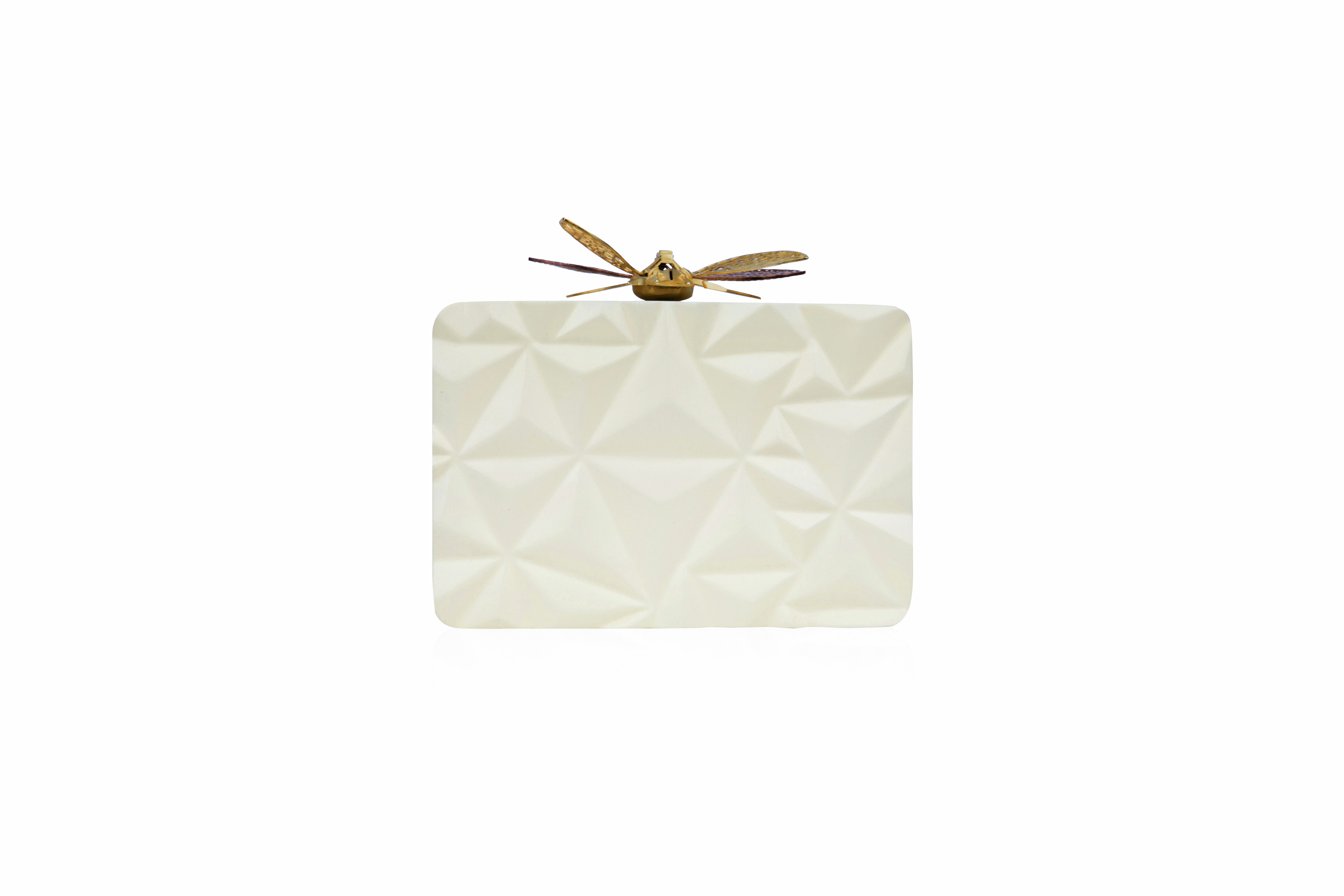 Triangle Cream Dragonfly Clutch by Duet Luxury on curated-crowd.com