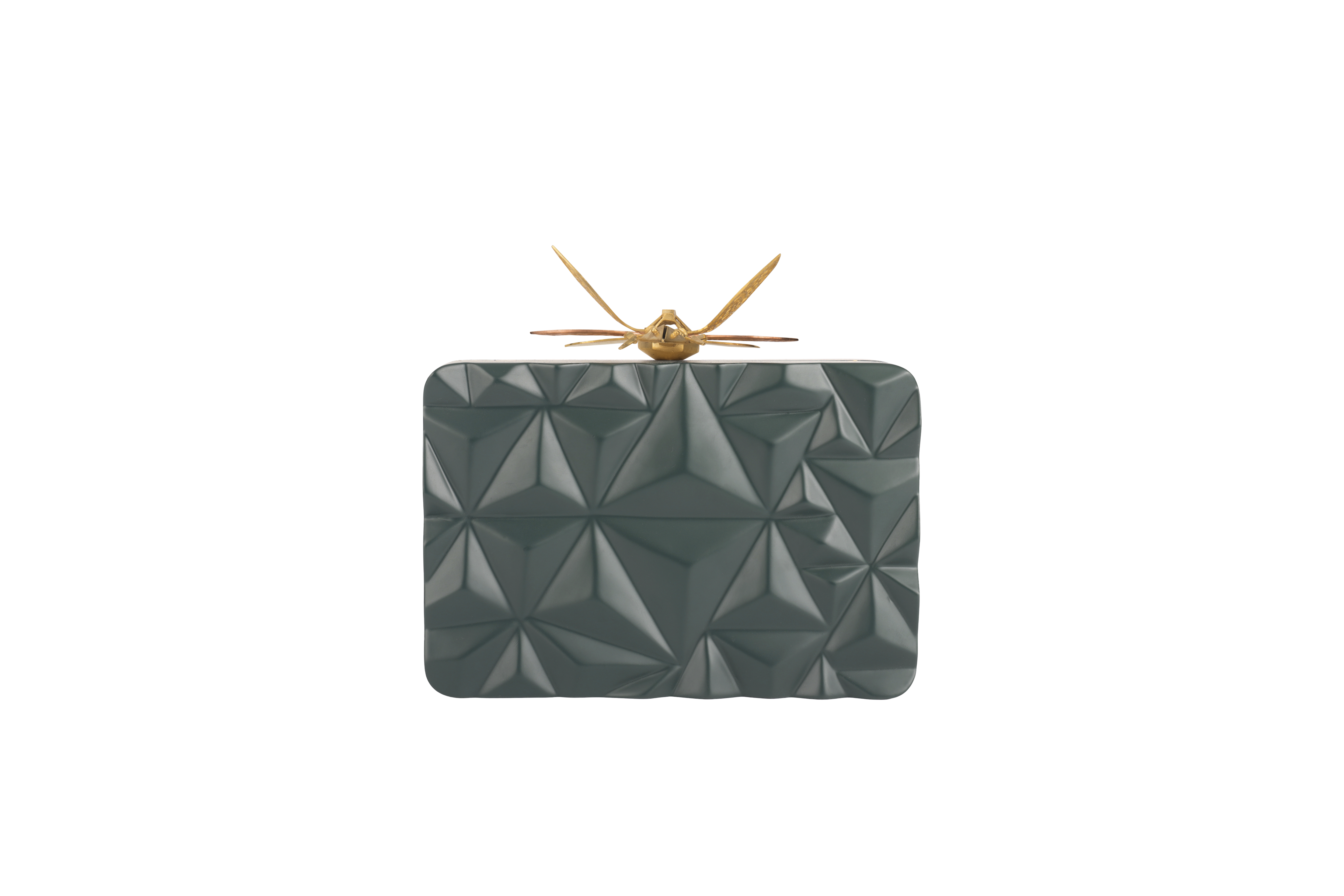 Triangle Green Dragonfly Clutch by Duet Luxury on curated-crowd.com
